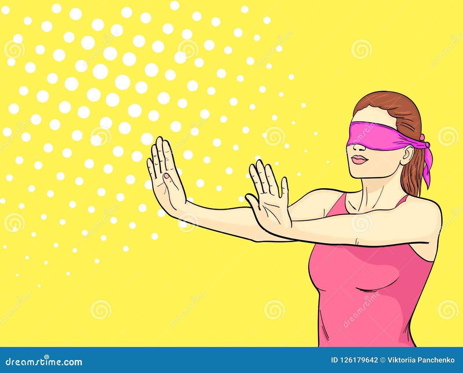 Pop-Arten-Hintergrund ist orange Ein Retro- junges Mädchen spielt Verstecken, ihre Augen werden gebunden, die ausgestreckten Arme