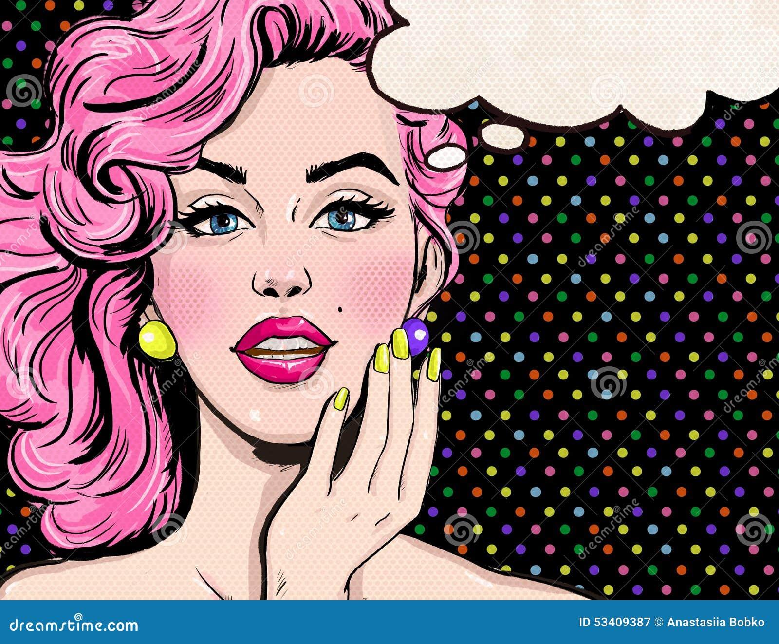 Pop-Arten-Illustration des Mädchens mit der Spracheblase Pop-Arten-Mädchen Vektor Victorianillustration