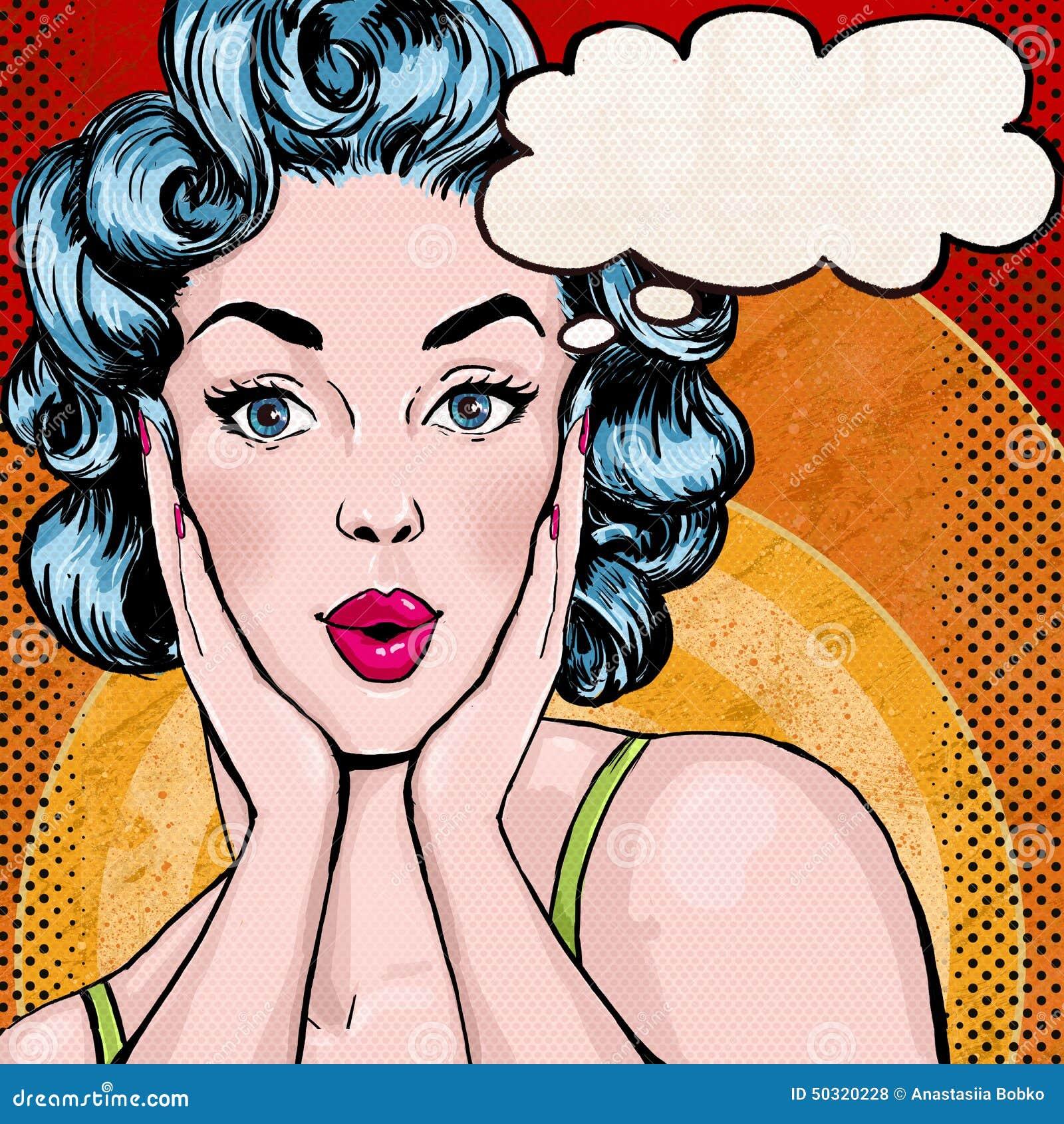 Pop-artillustratie van vrouw met de toespraakbel Pop-artmeisje De groetkaart van de verjaardag