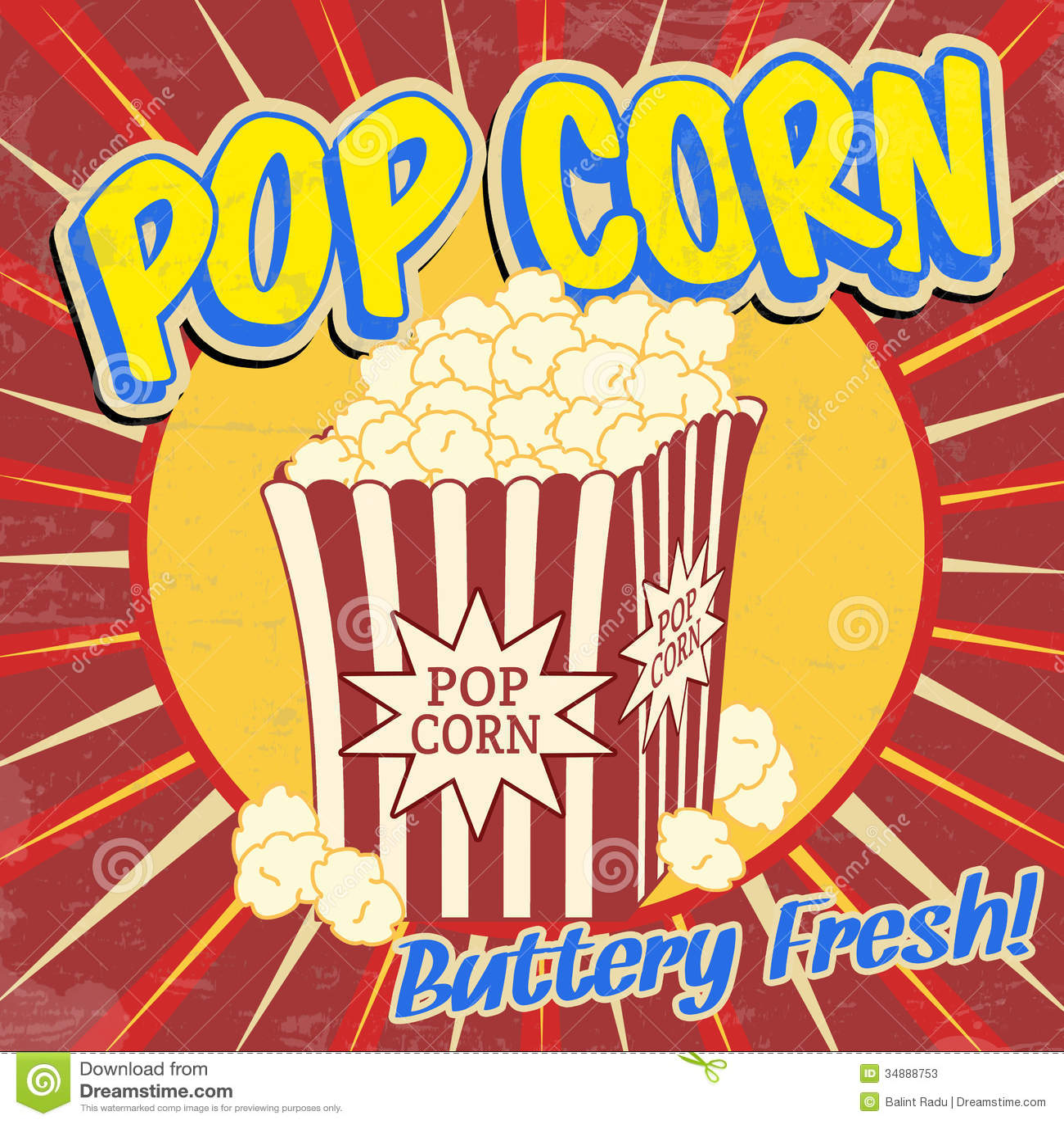 pop corn vintage poster stock vector illustration of corn. Black Bedroom Furniture Sets. Home Design Ideas