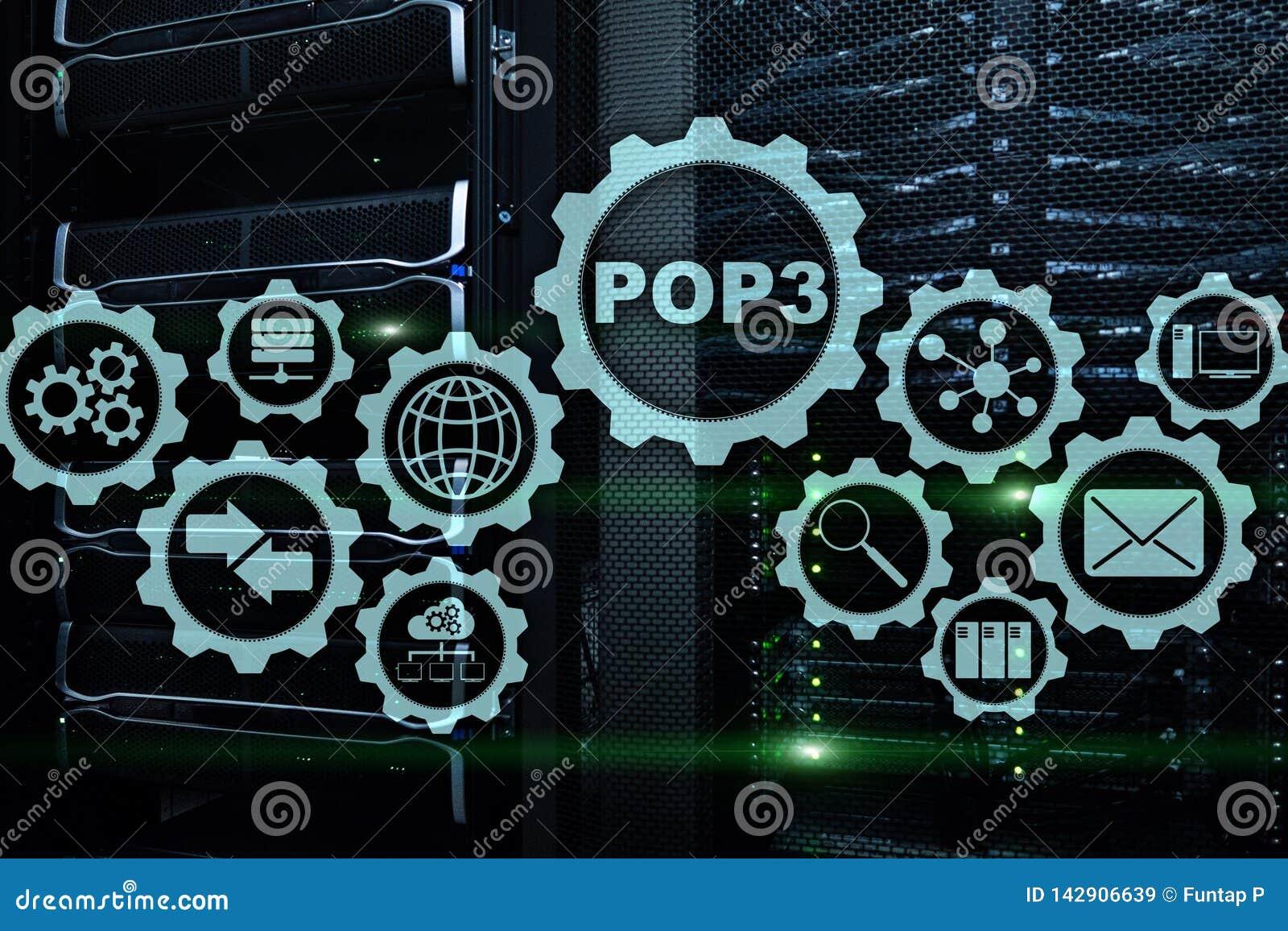 POP3 Stolpe - kontorsprotokollversion 3 Standart Internet Protocol på datacenterbakgrund