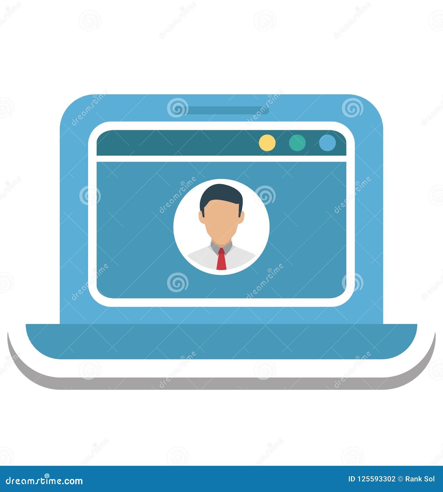 Pop-up di profilo, icona di vettore isolata profilo di web