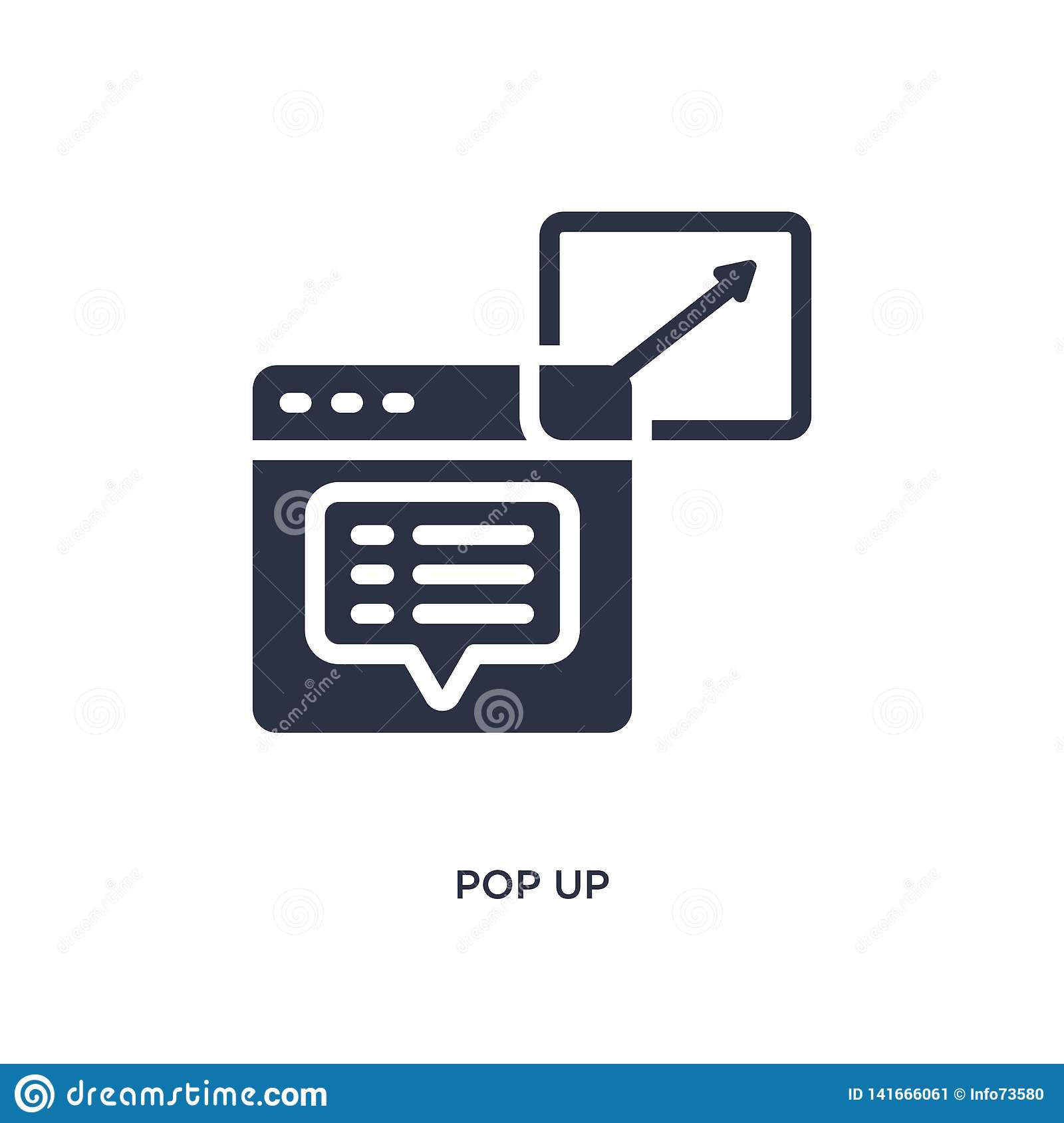 pop up icon on white background. Simple element illustration from marketing concept
