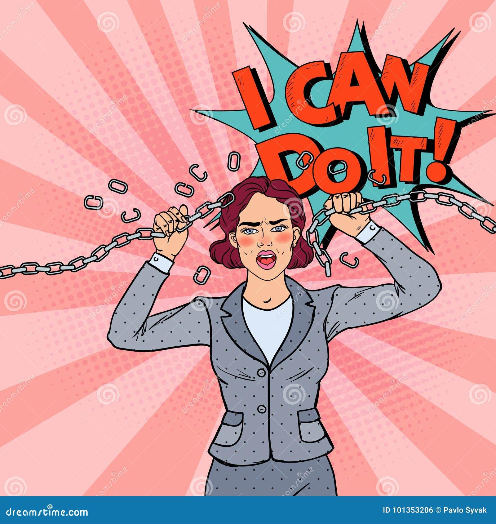 PopArt Business Woman Breaking Metal kedja stark kvinna