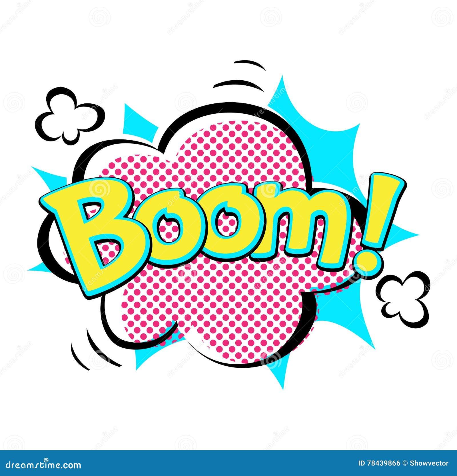 Popart Comic Speech Bubble Boom Effects Vector Stock