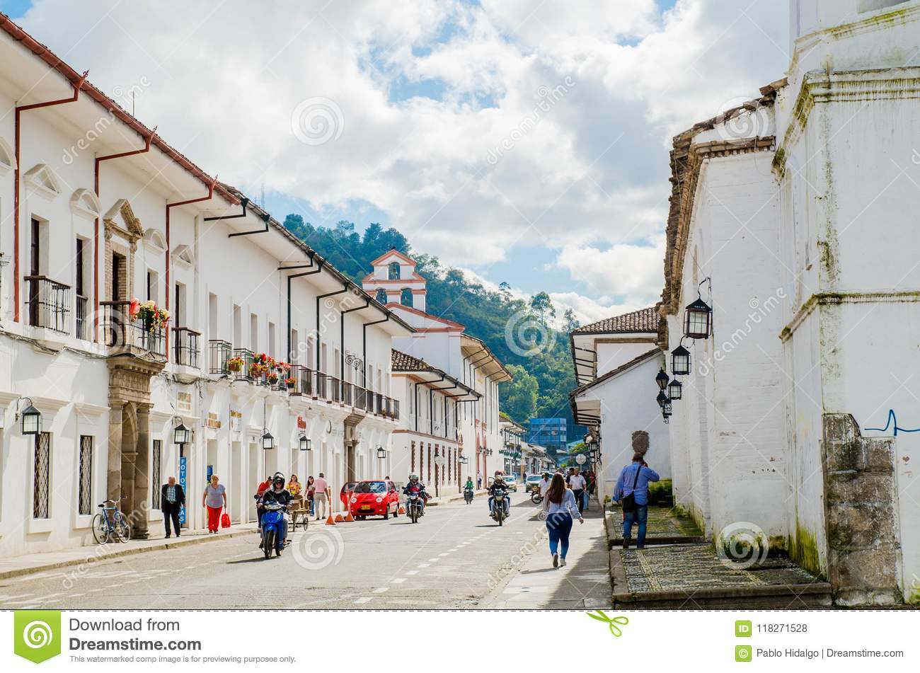 Download POPAYAN, COLOMBIA - FEBRUARY 06, 2018: Outdoor View Of Unidentified People Walking In The Streets Of The Town Of Popayan Editorial Stock Photo - Image of american, tourism: 118271528