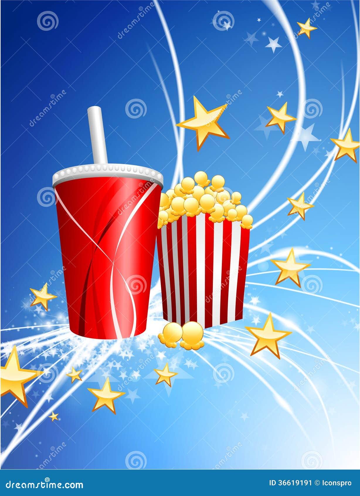 Popcorn και σόδα στο αφηρημένο σύγχρονο ελαφρύ υπόβαθρο
