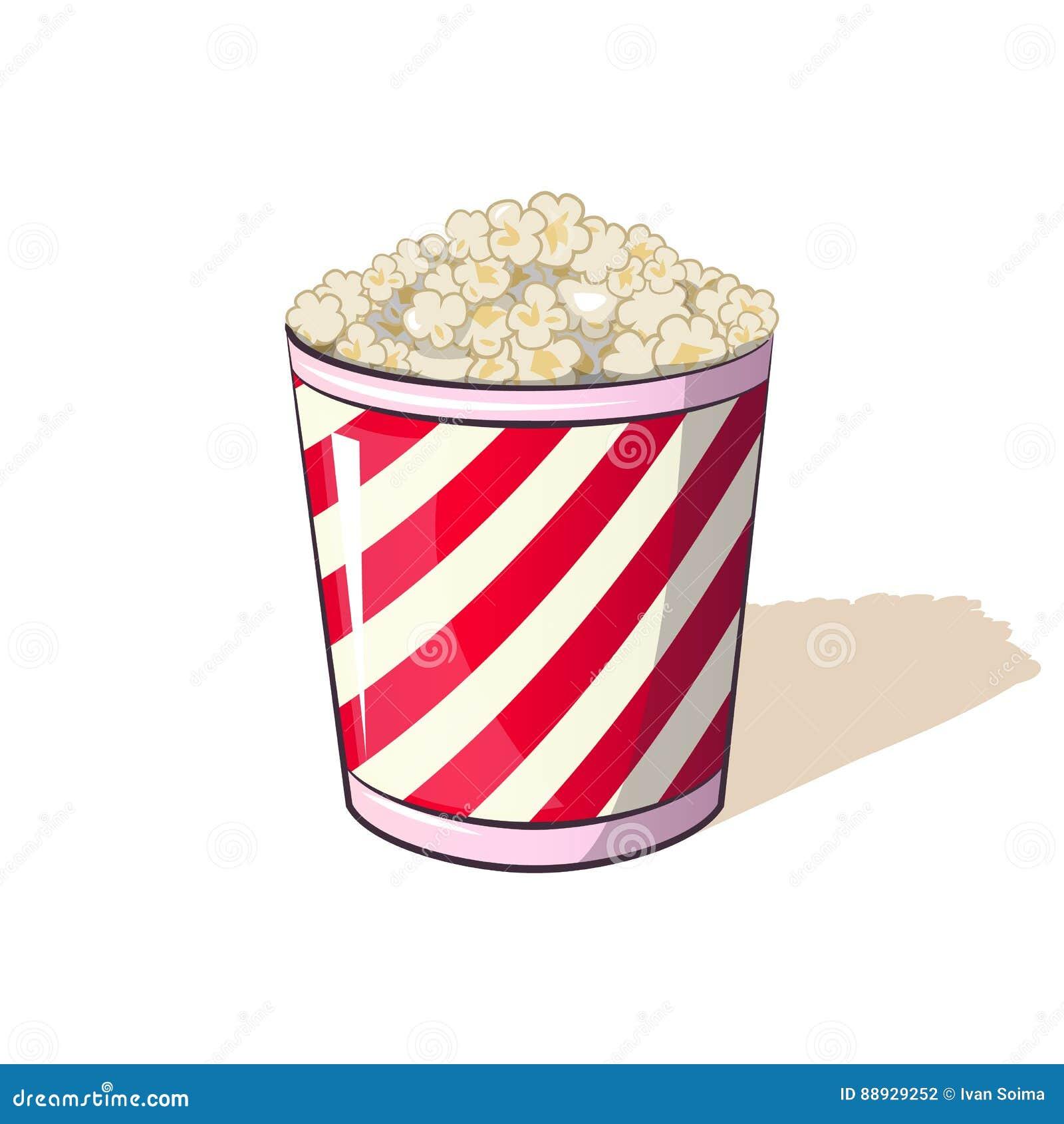 Popcorn σε ένα ριγωτό πρόχειρο φαγητό κάδων κιβωτίων κατά το προσοχή των κινηματογράφων