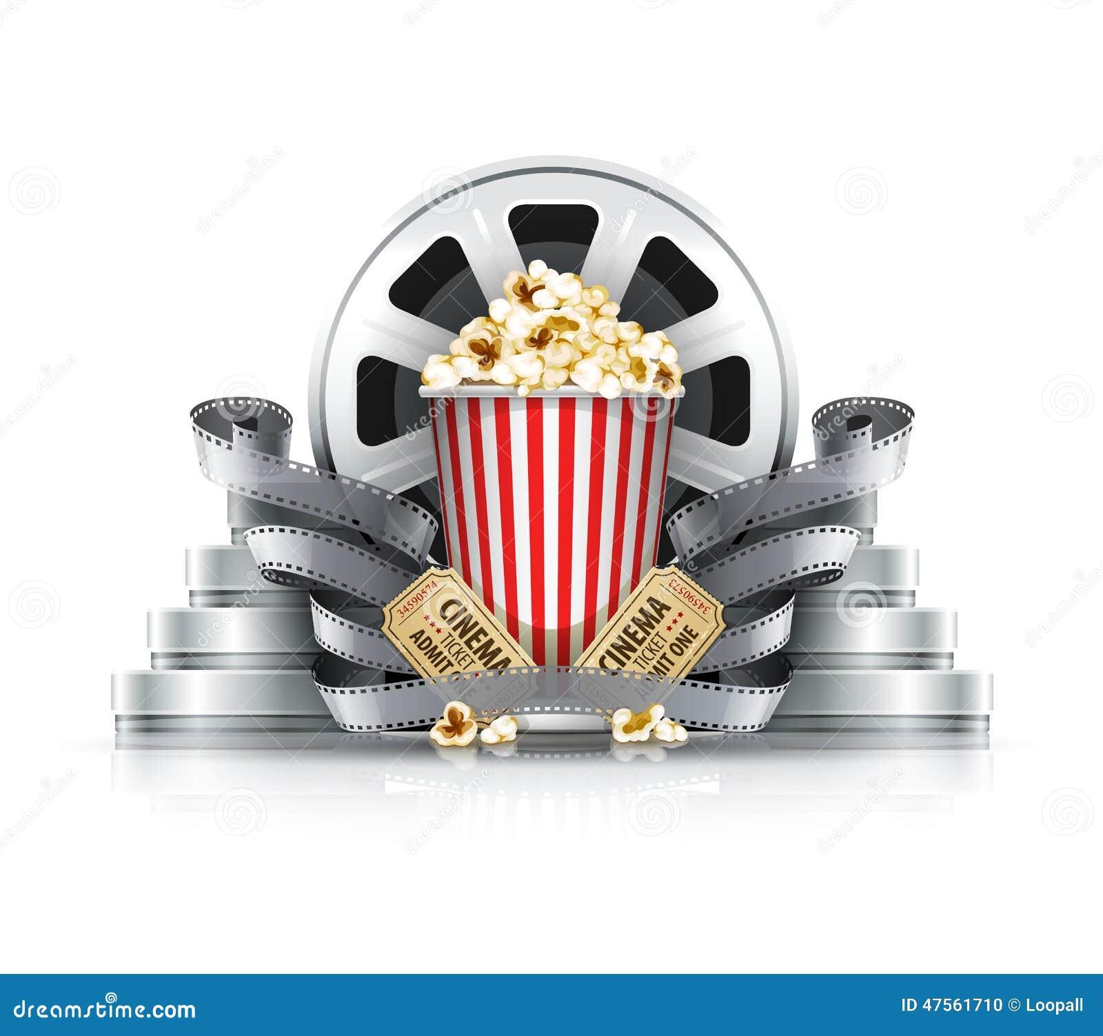 Popcorn ταινία-λουρίδες και δίσκοι με τα εισιτήρια κινηματογράφων στη κινηματογραφική αίθουσα
