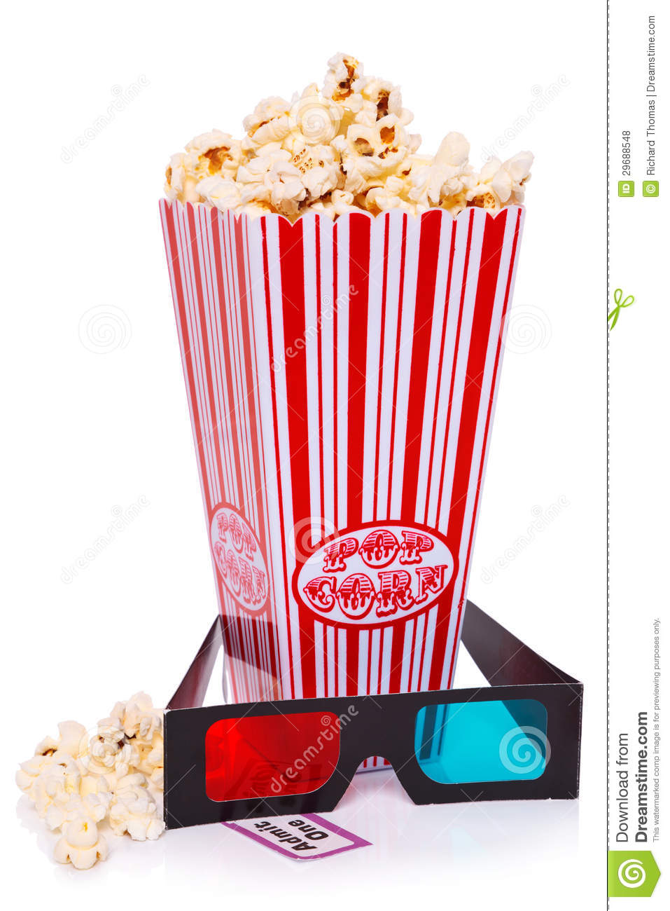 Popcorn, 3D Glasses And Ticket Stock Photo - Image of striped, admit