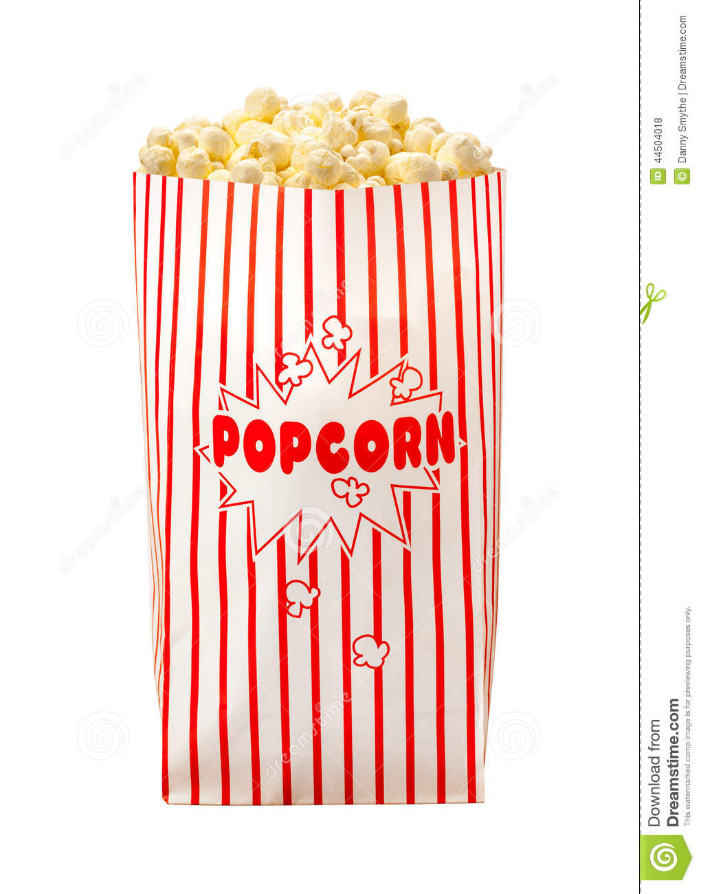 Popcorn Bag isolated on a white background. The isolation is on a ...