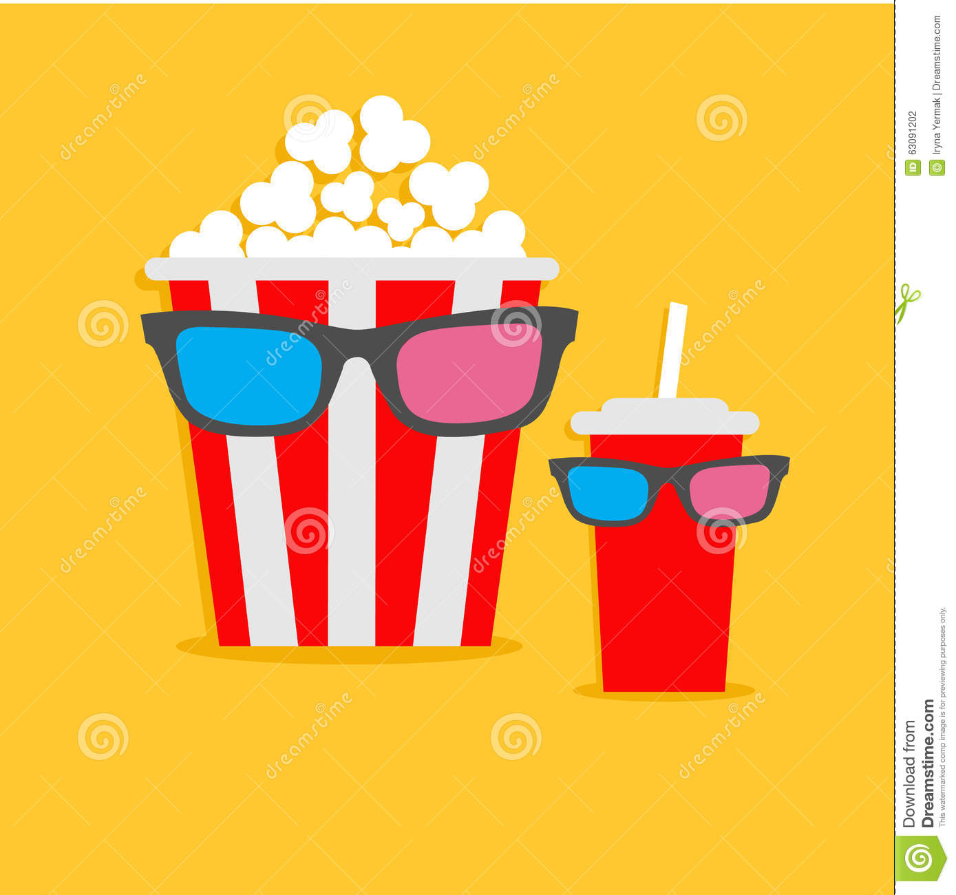 Popcorn box and soda glass characters in 3d glasses for 3d flat design online