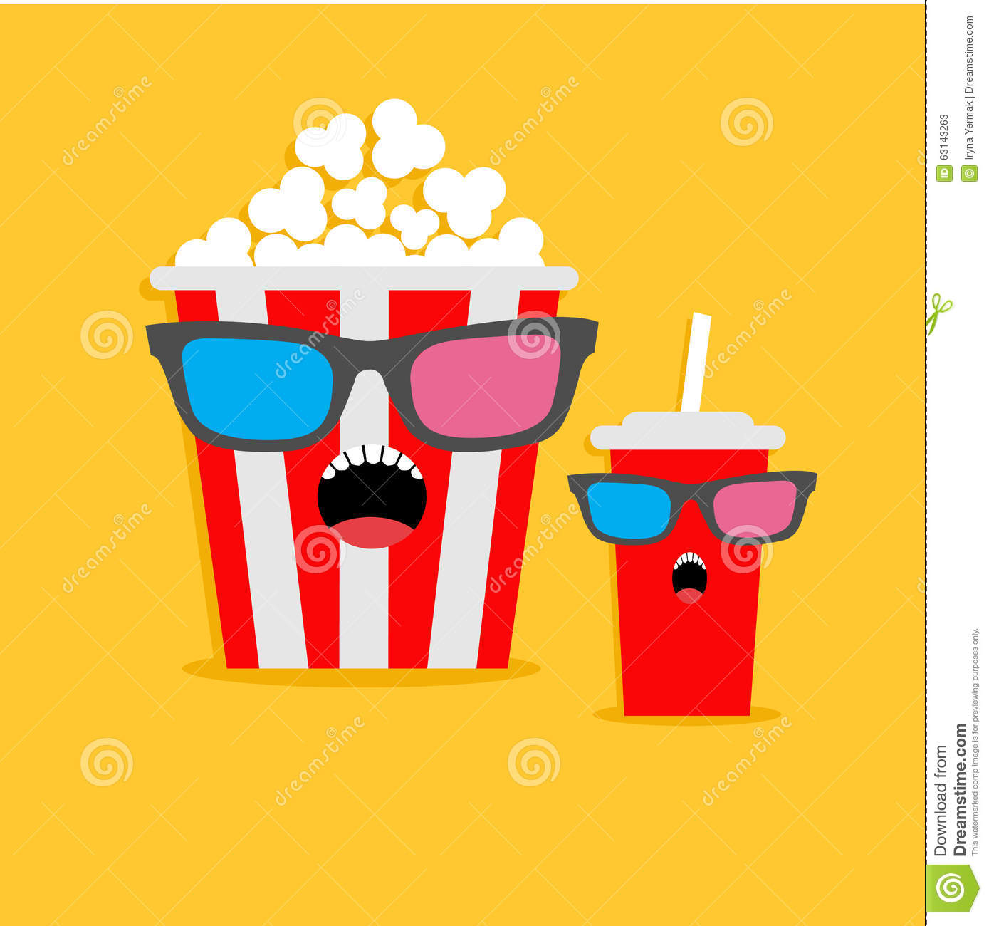 Popcorn Box And Soda Glass Screaming Characters In 3D ...