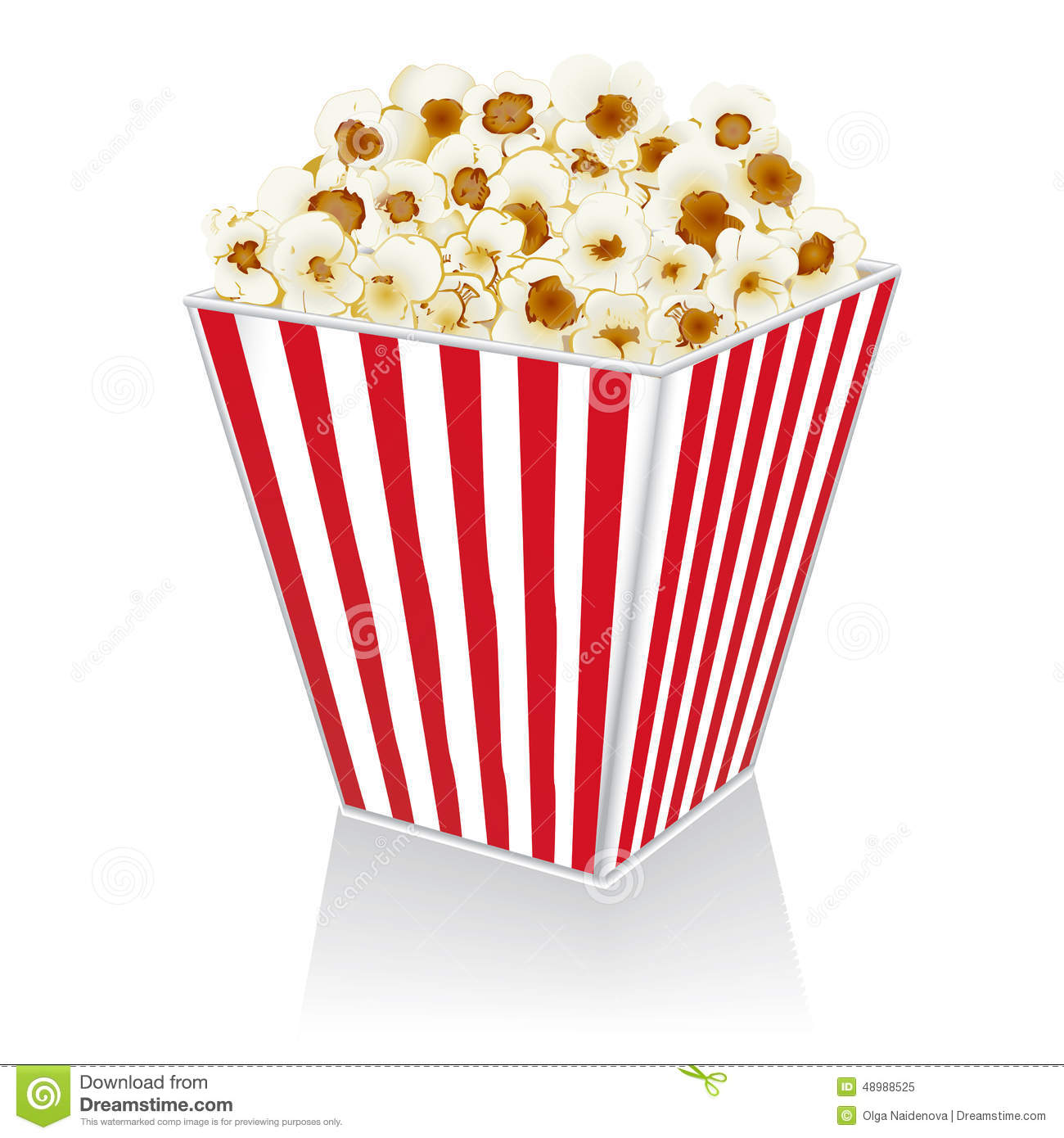 Popcorn In A Box On A White Background Stock Vector