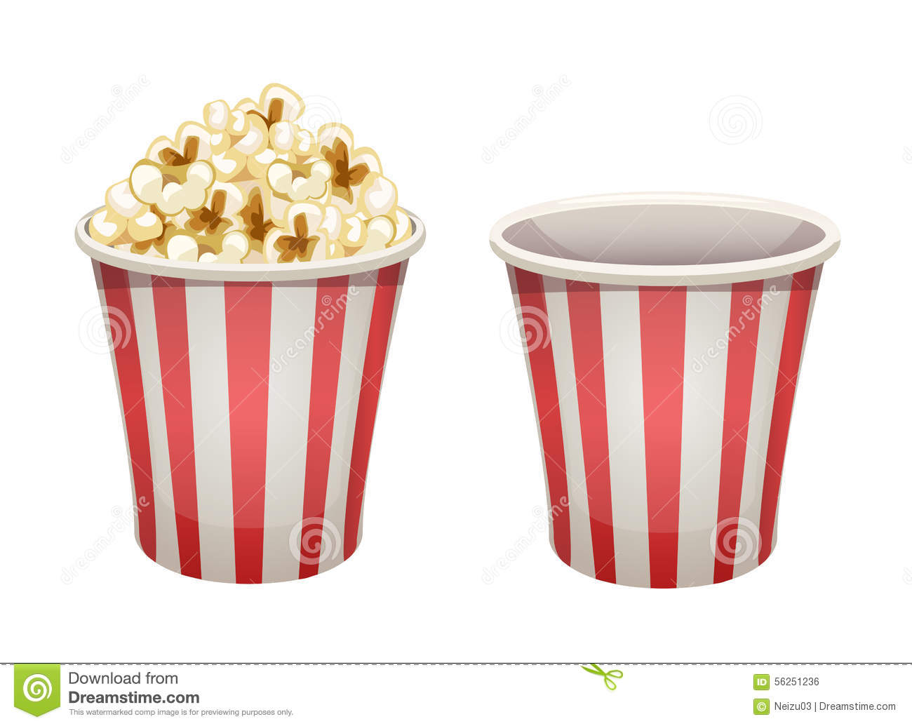 Popcorn Bucket: Full And Empty Stock Illustration - Image ...