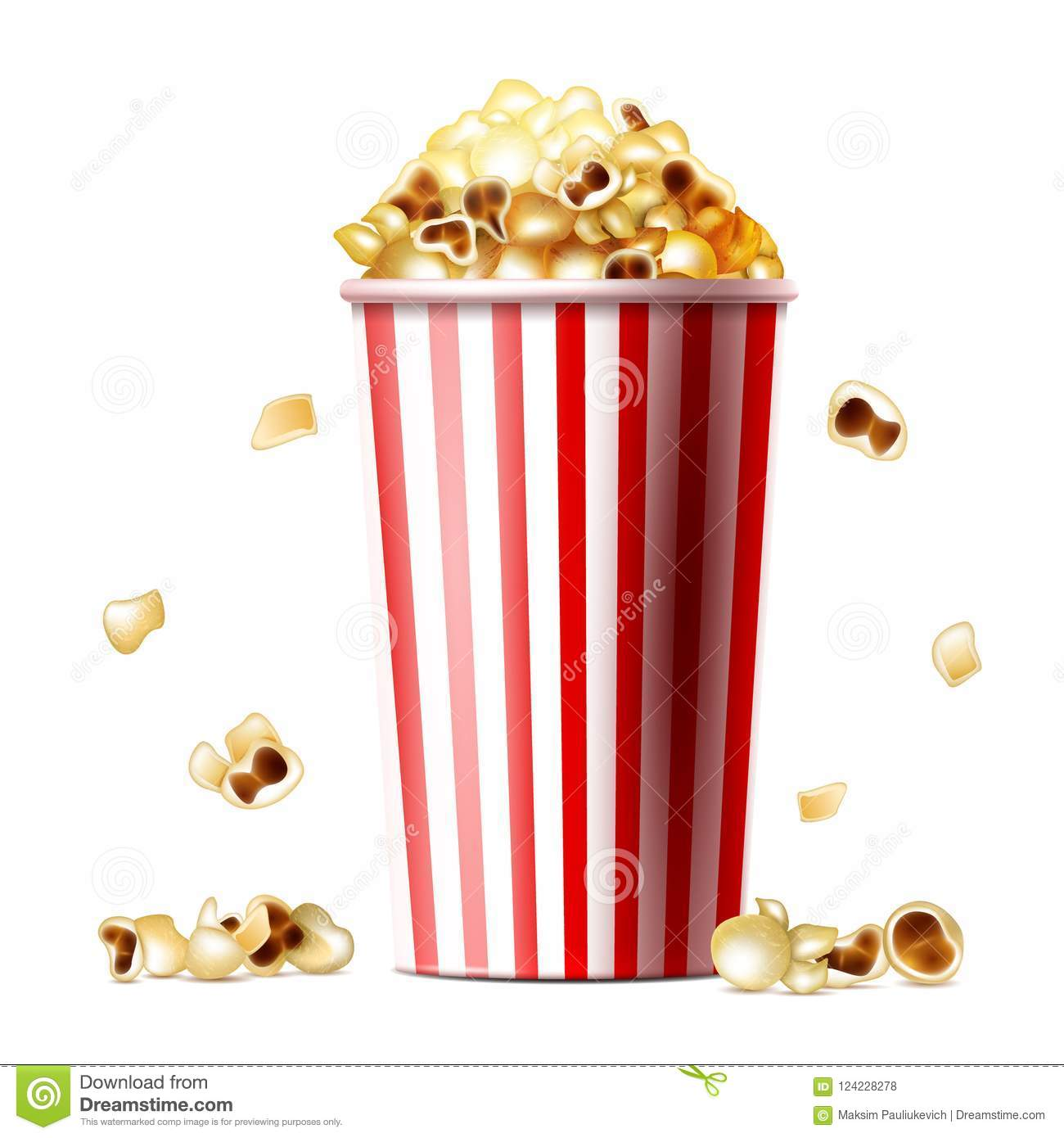 Popcorn Bucket Realistic Vector Illustration Stock Vector