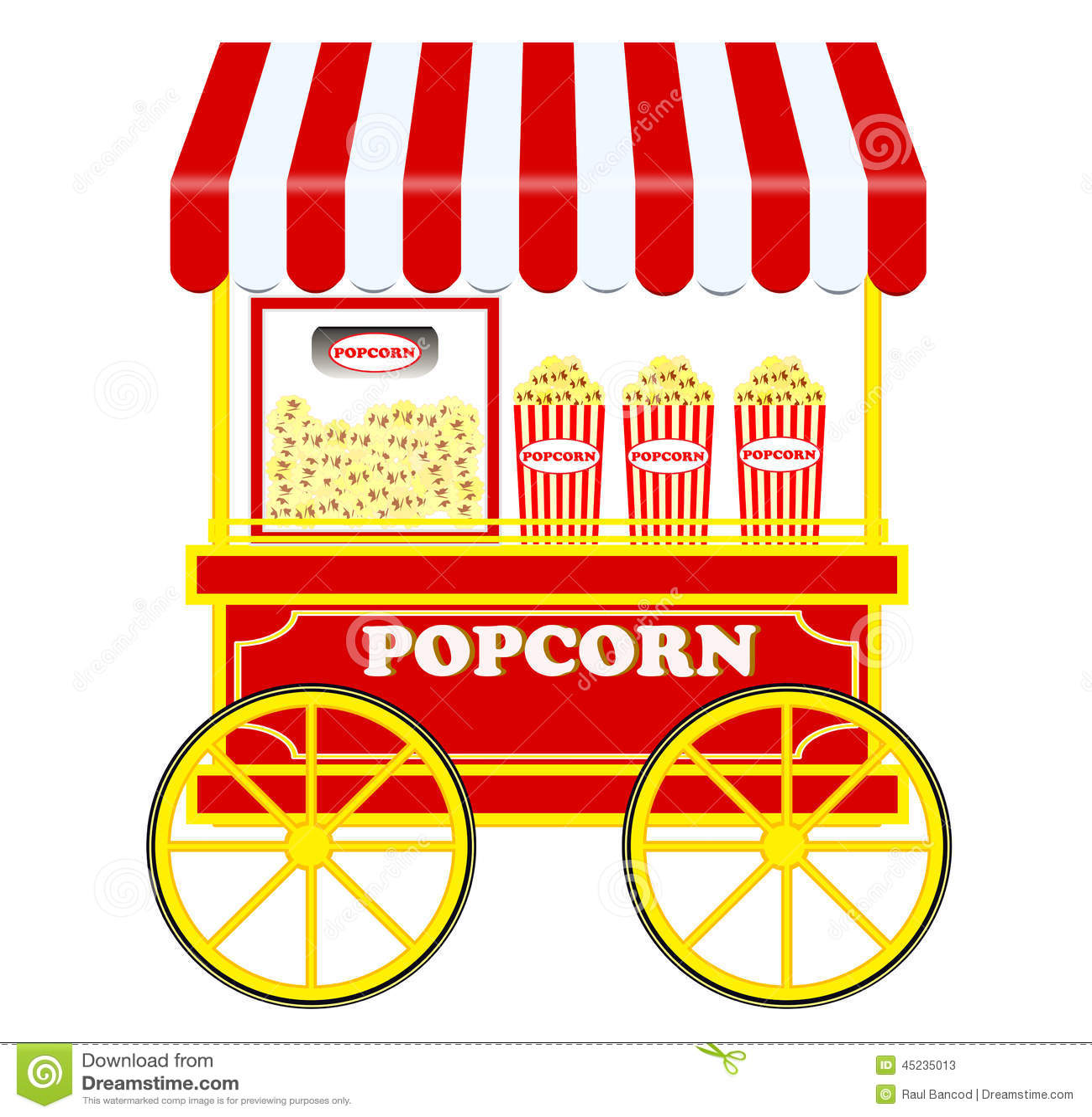 Popcorn Cart Stock Image Illustration Of Illustration