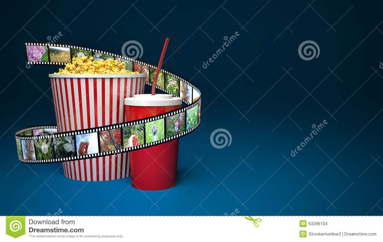 Popcorn For Cinema And Movie Film Tape On Blue Background ...
