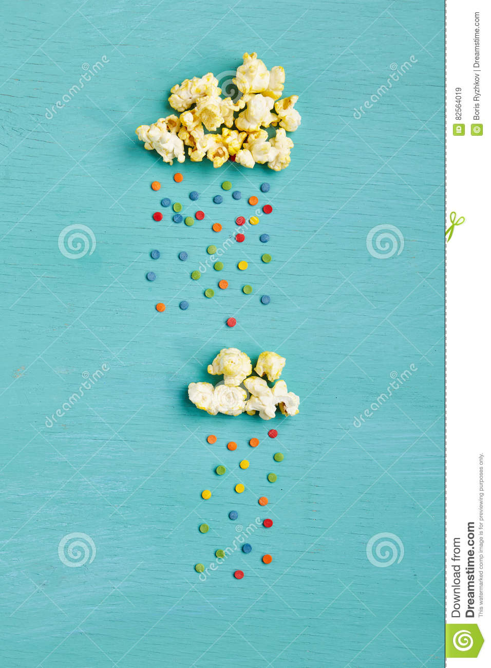 Download Popcorn Clouds With Colorful Rain Stock Image - Image of hipster, cloud: 82564019