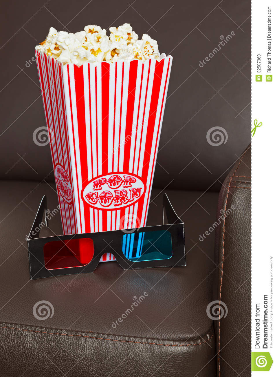 Popcorn 3d Glasses And Cinema Chair Stock Photo Image