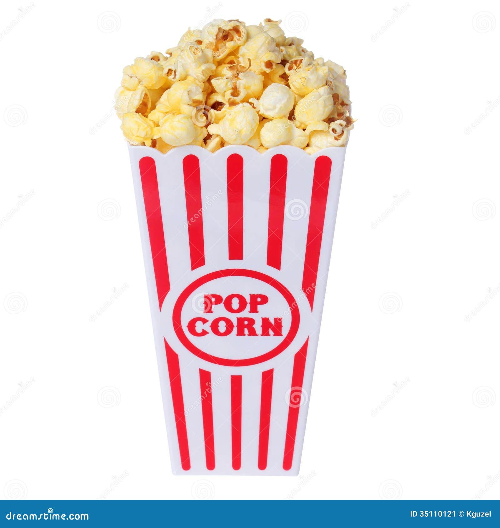 Popcorn in doos die op wit wordt geïsoleerd