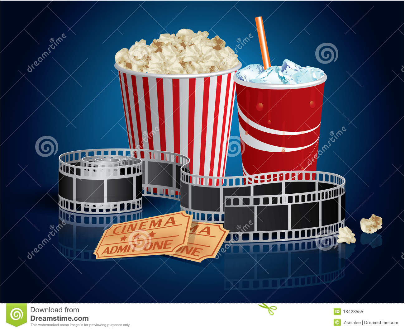 Popcorn, Drink And Filmstrip Royalty Free Stock Photo - Image ...