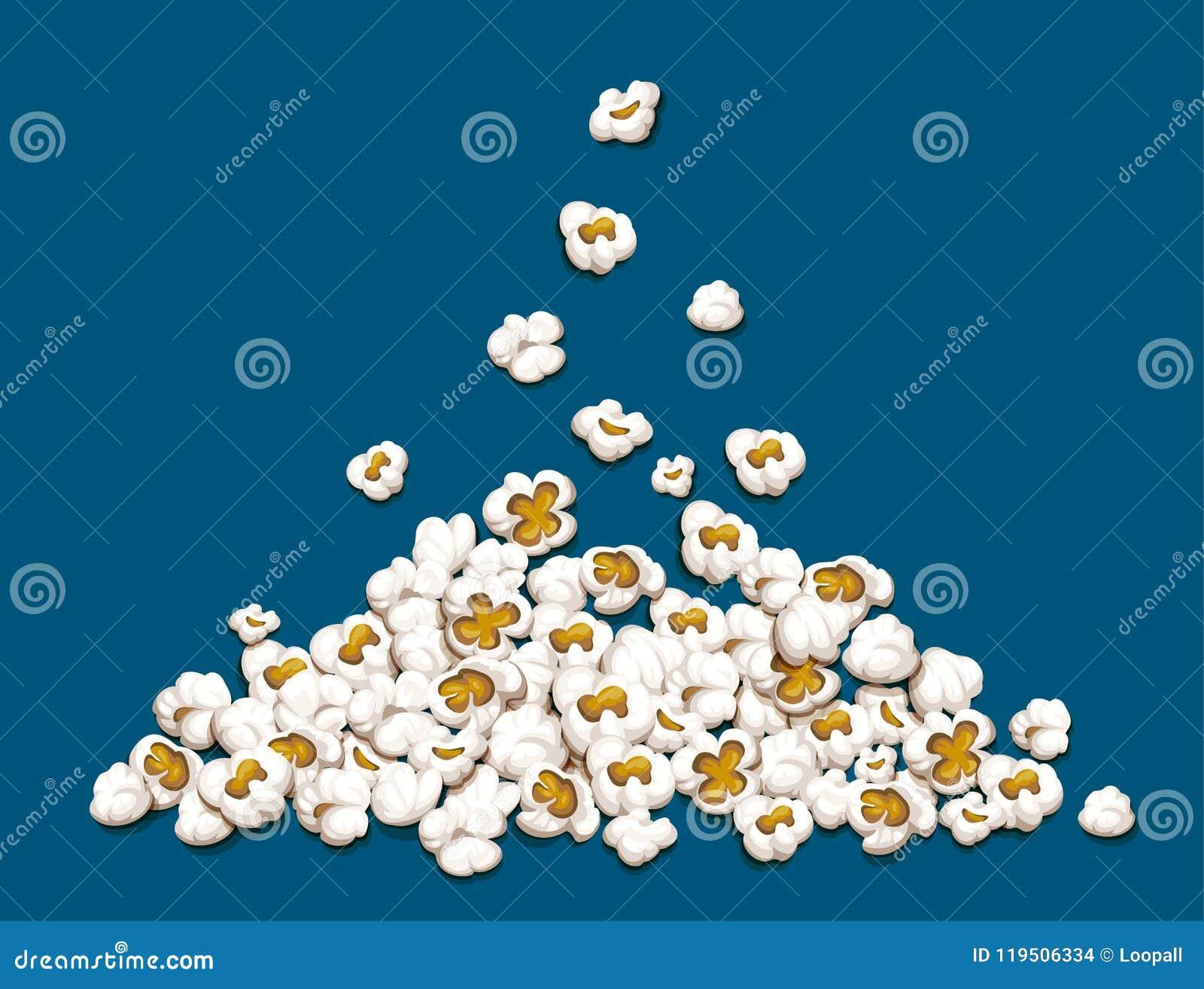 Popcorn fall down on heap vector illustration.