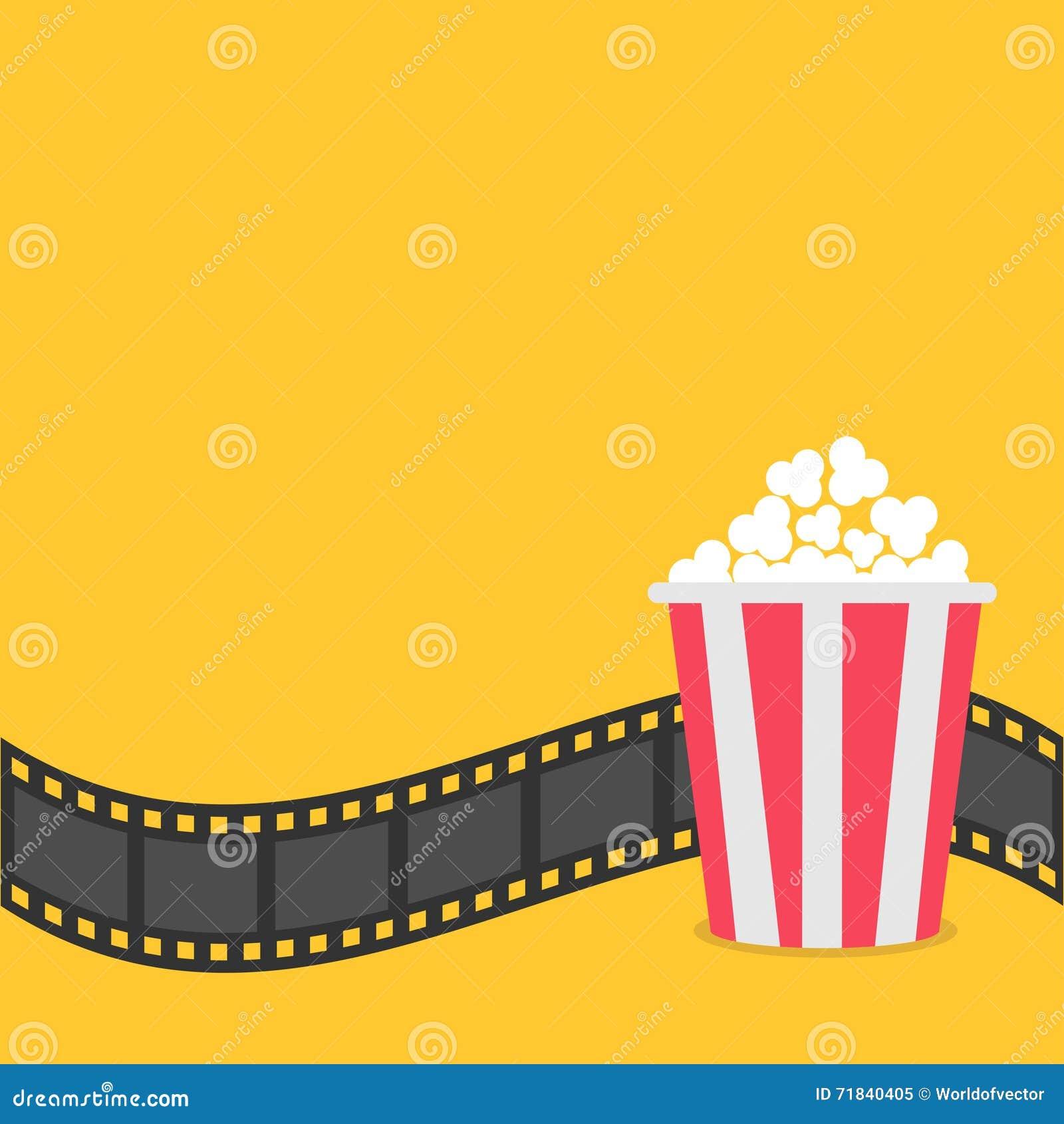 Popcorn Film Strip Border Red Yellow Box Cinema Movie Night Icon