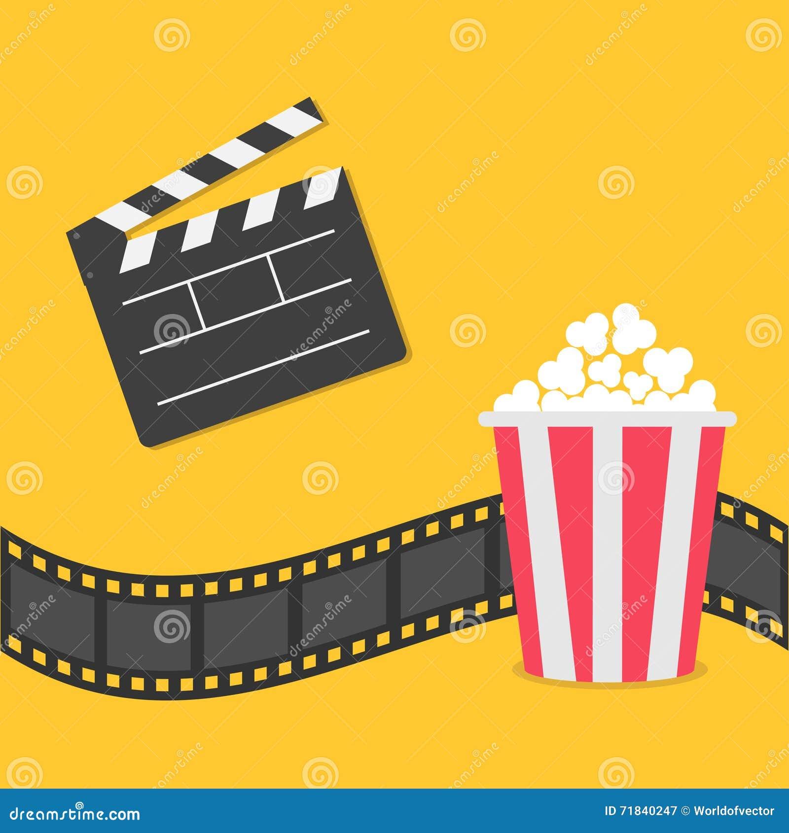 Popcorn Filmstreifengrenze Öffnen Sie Filmscharnierventilbrettikone Roter gelber Kasten Kinofilmnachtikone in der flachen Designa