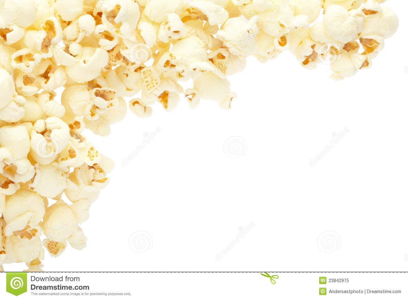 Popcorn border isolated on white, clipping path included.