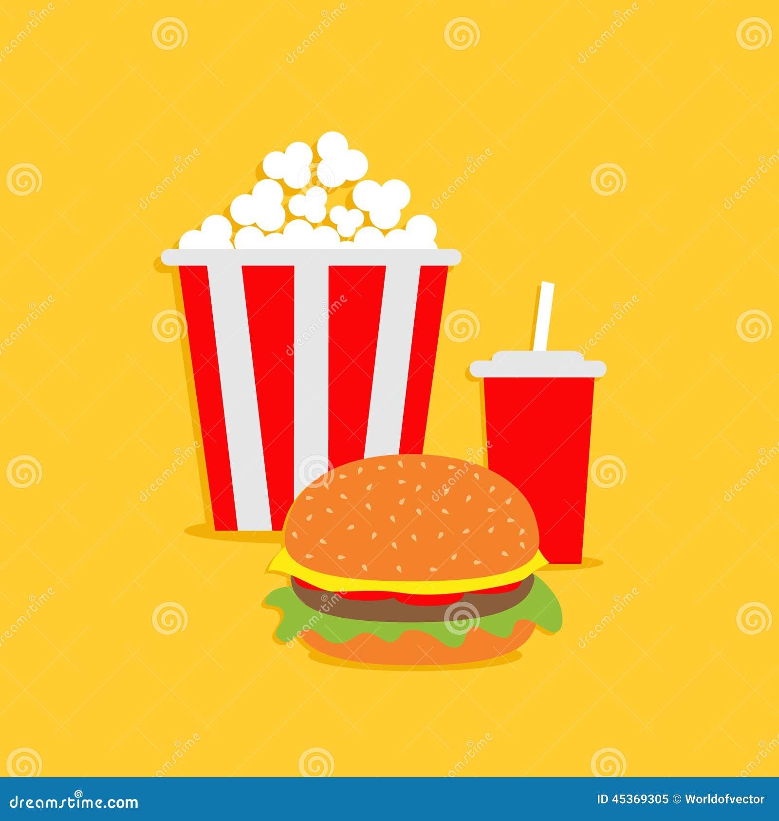 Popcorn, Hamburger, Soda With Straw. Cinema Icon In Flat ...