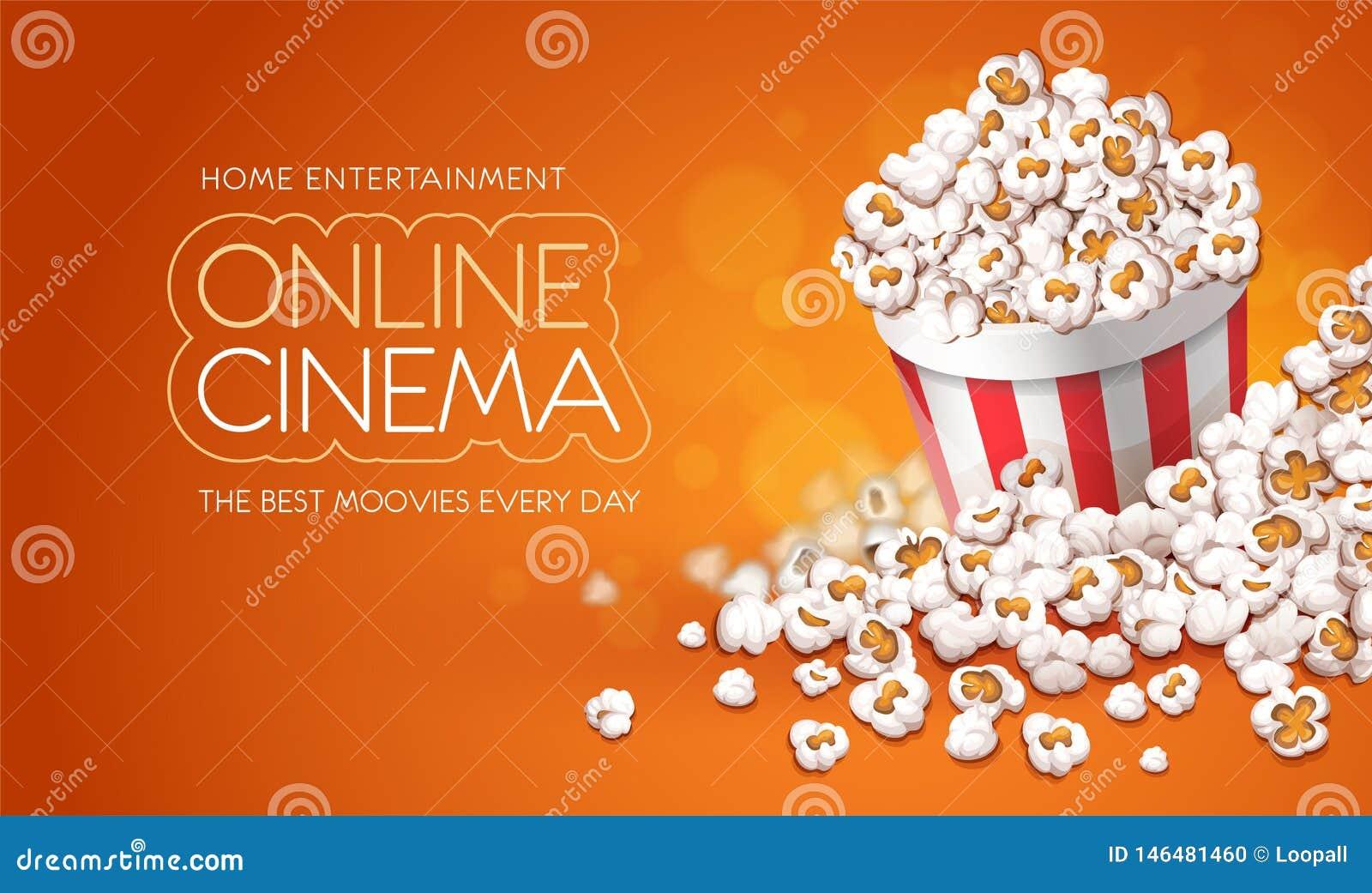 Popcorn i pappers- hink Online-filmbiobegrepp ocks? vektor f?r coreldrawillustration
