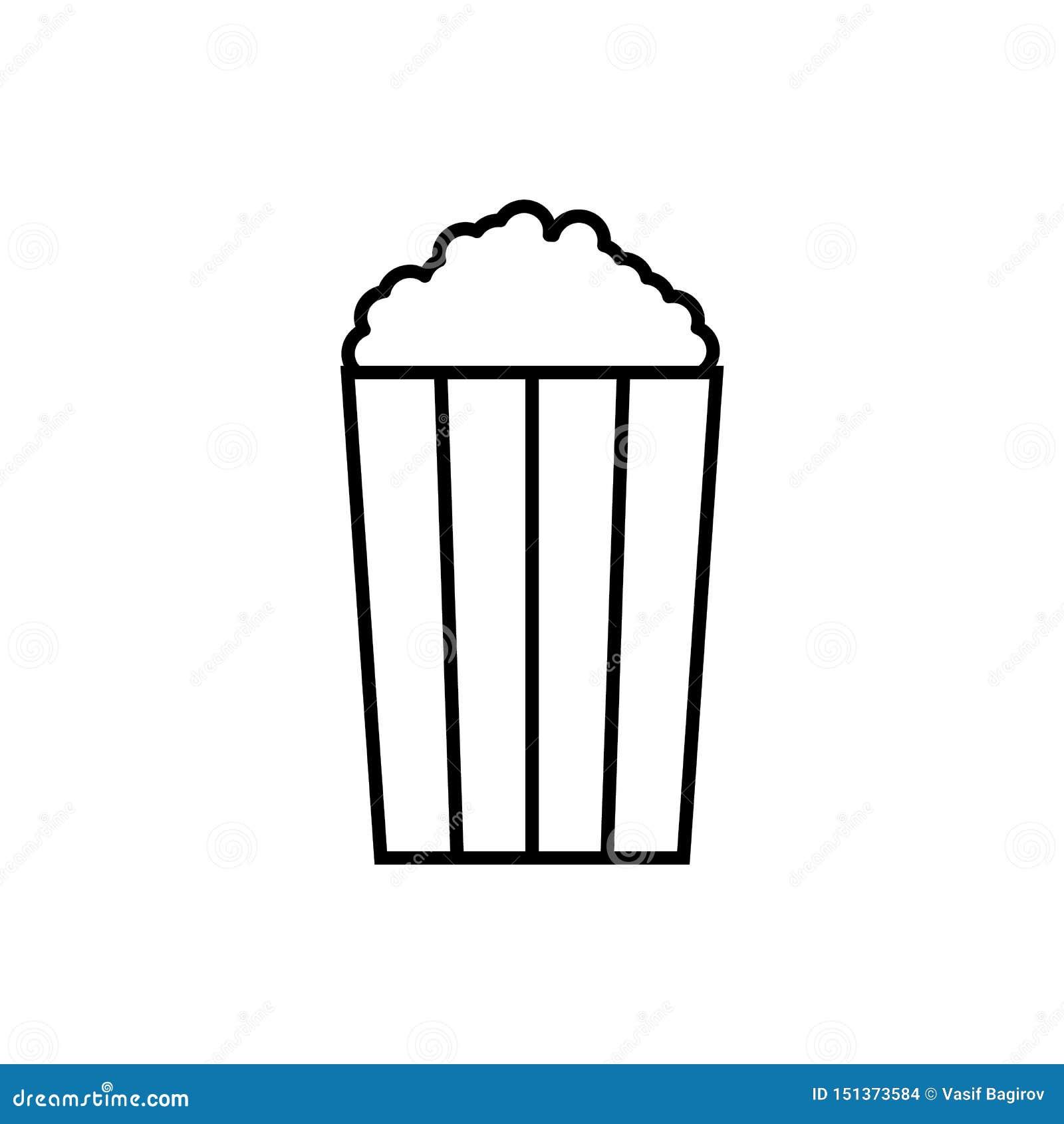 Popcorn Illustrationvektorsymbol, popcornsymbol