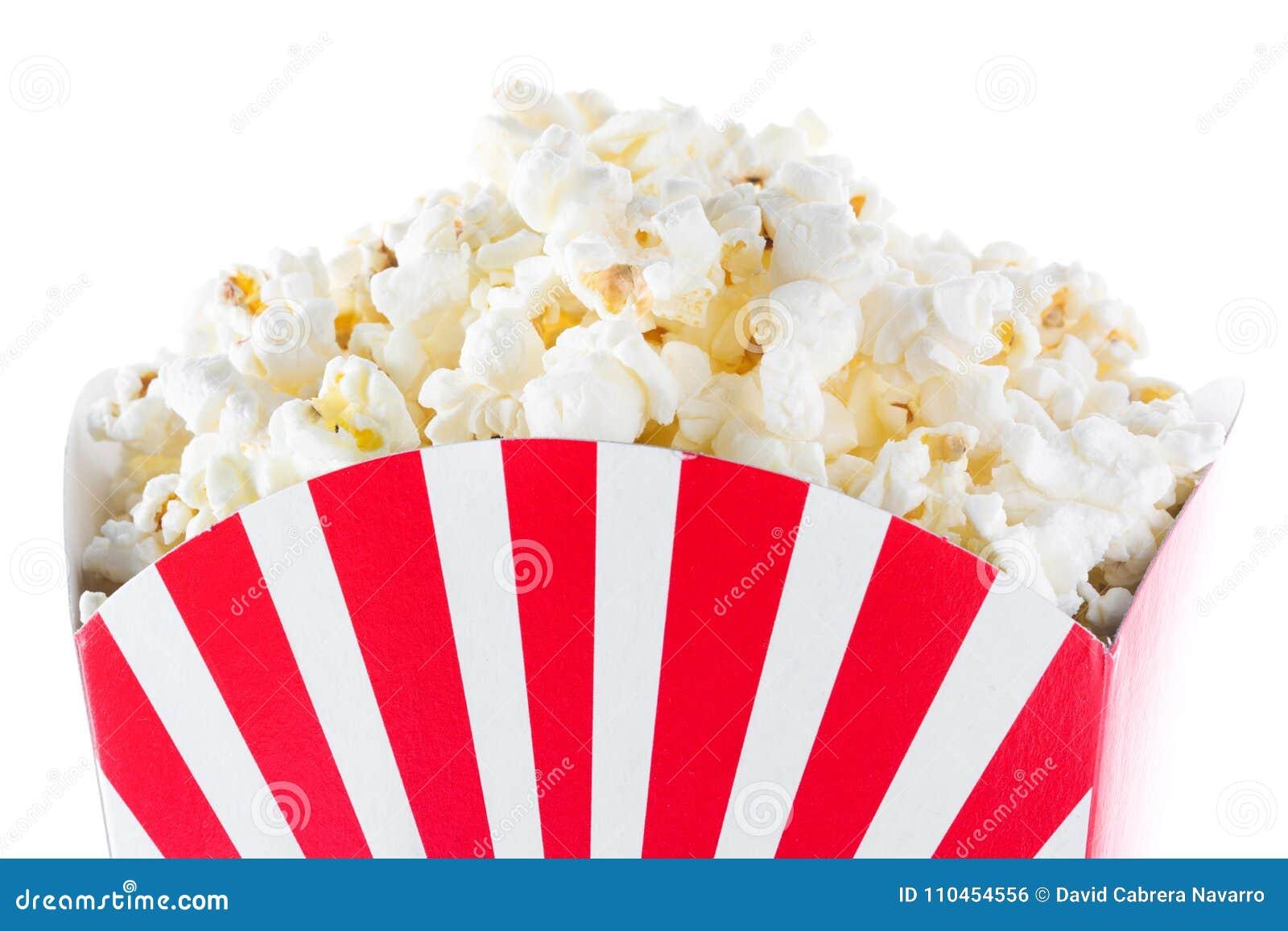 Popcorn inom förpacka gjorde randig isolerat