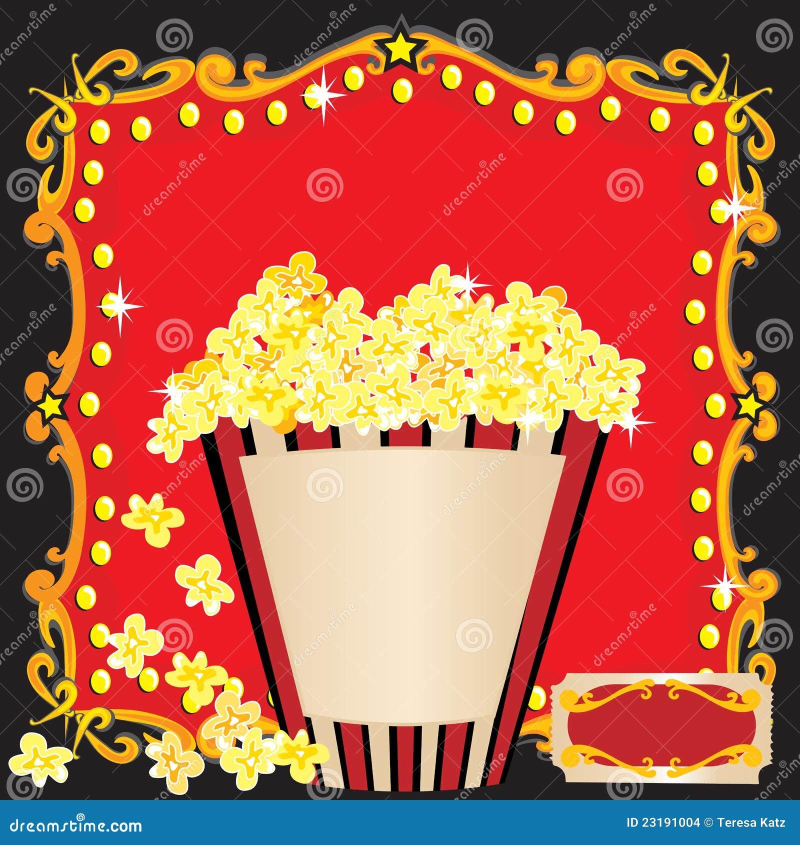 Popcorn och en inbjudan för filmfödelsedagdeltagare