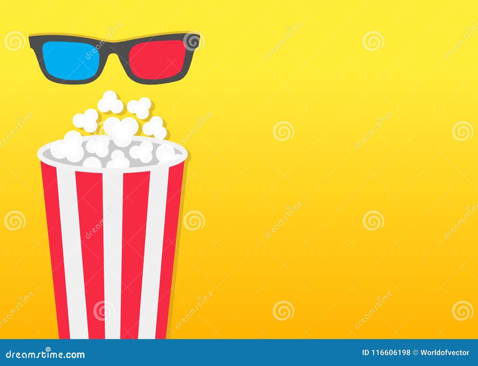 Popcorn om doos Het pictogram van de filmbioskoop in vlakke ontwerpstijl Het Pop graan knallen Linkerkantmalplaatje Lege ruimte G
