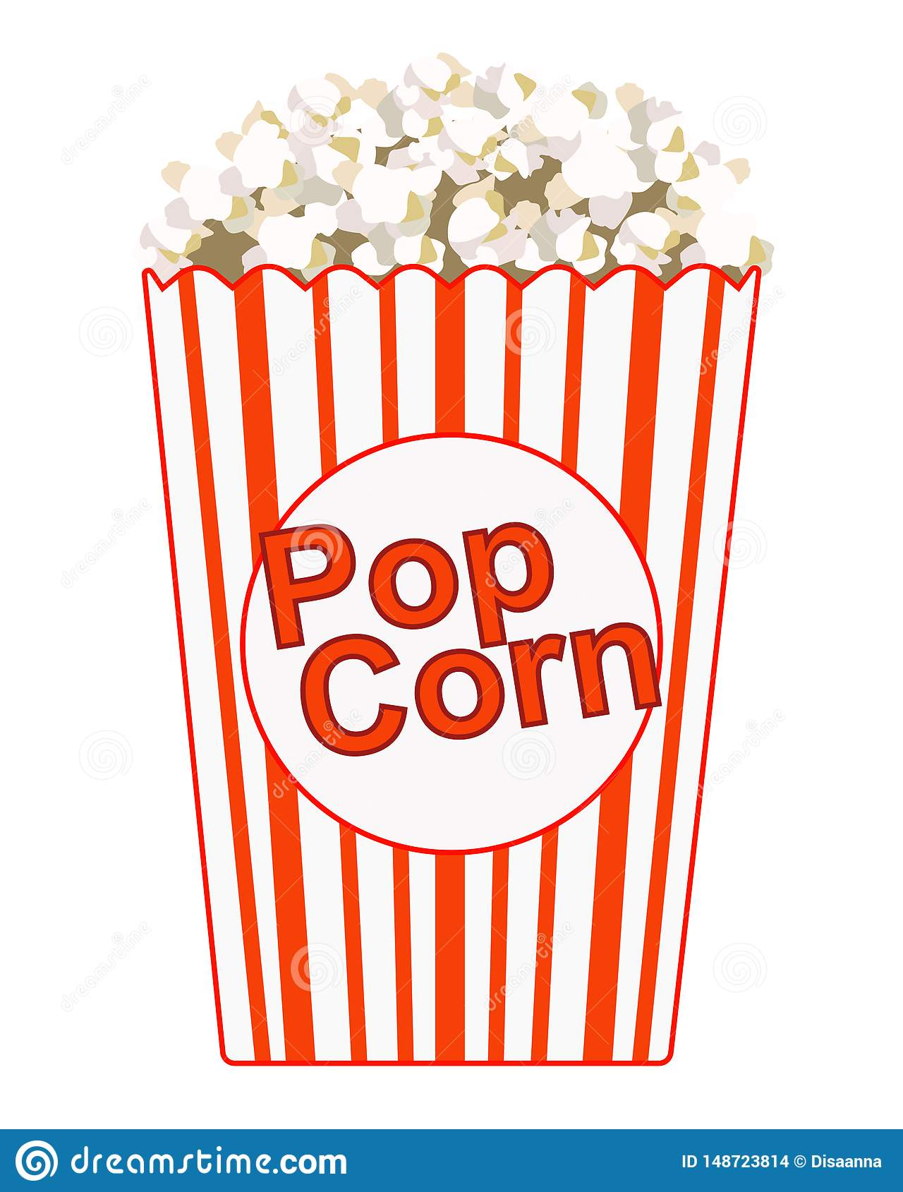 Popcorn. Paper bag with the inscription - popcorn. Striped red with white bag with popcorn. Color vector picture.