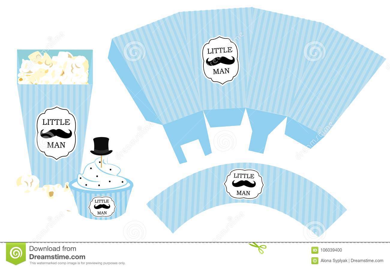 Cupcake Wrapper Printable Template For Little Mans Birthdaybaby Shower