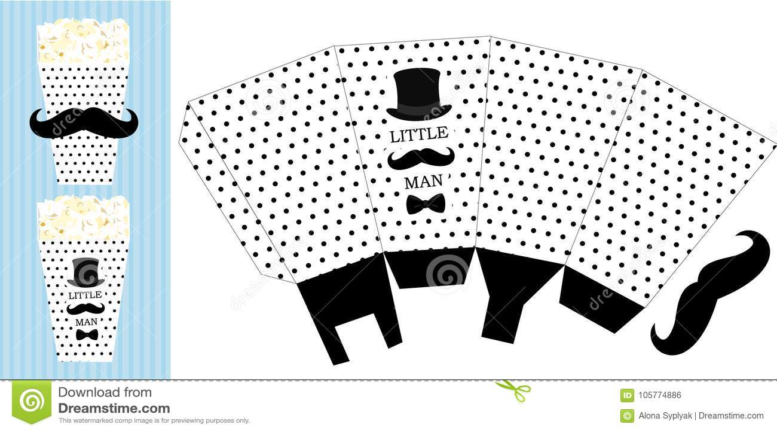 photograph regarding Popcorn Printable named Popcorn Paper Box. Printable Template For Small Guy`s