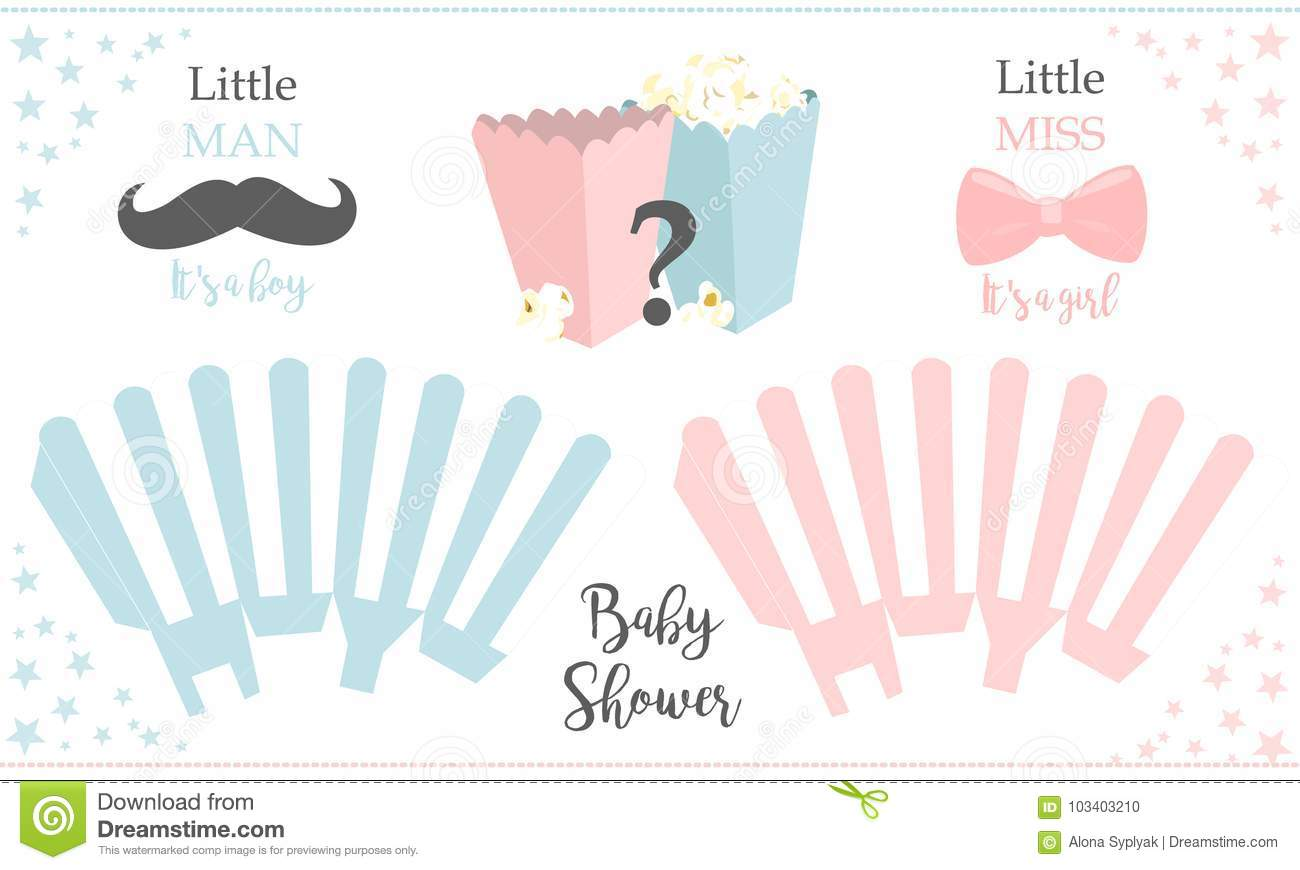 Popcorn Paper Box Template Little Man And Miss Baby Gender Reveal