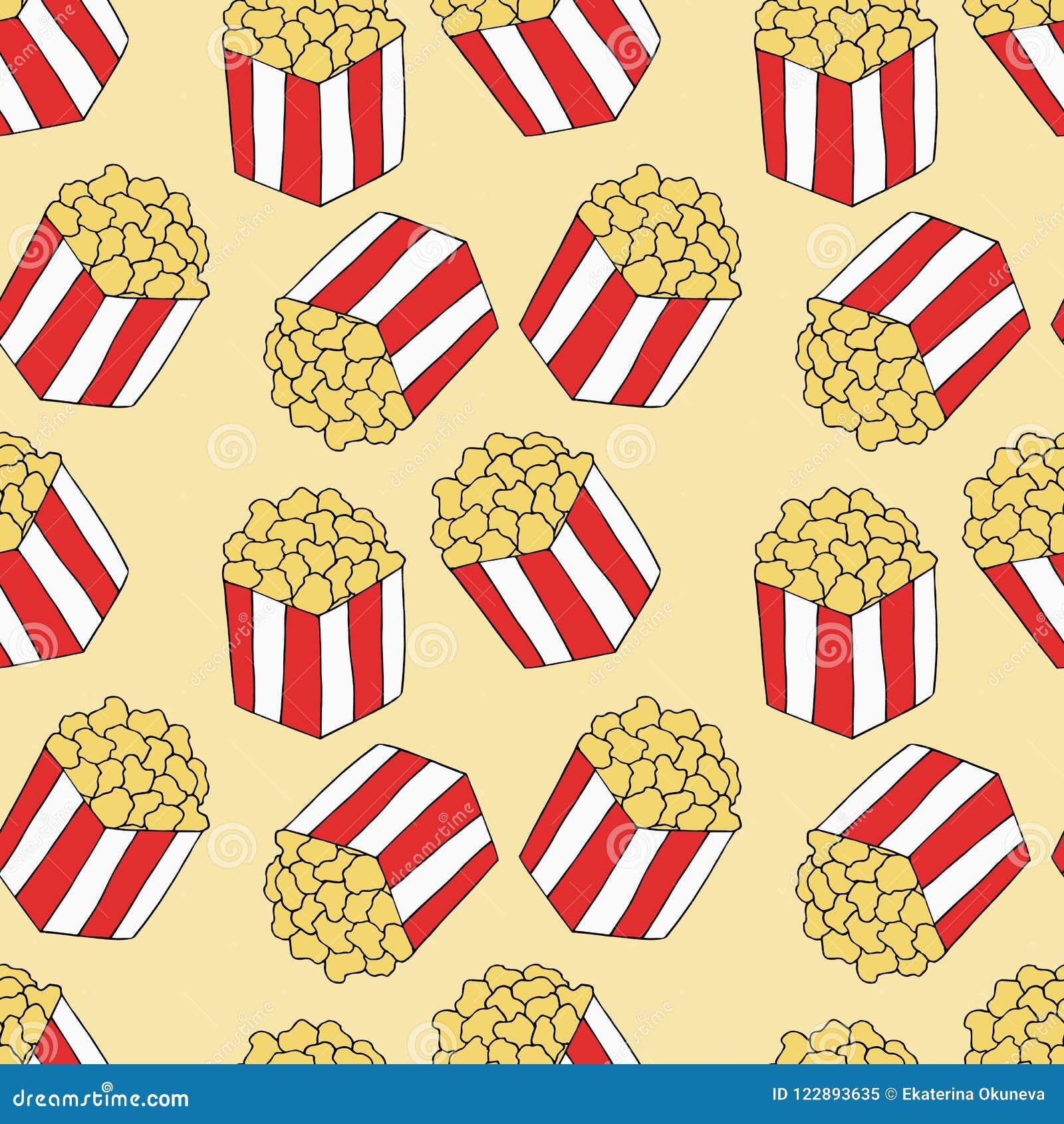 Popcorn Pattern Hand Drawn Illustration Bright Cartoon