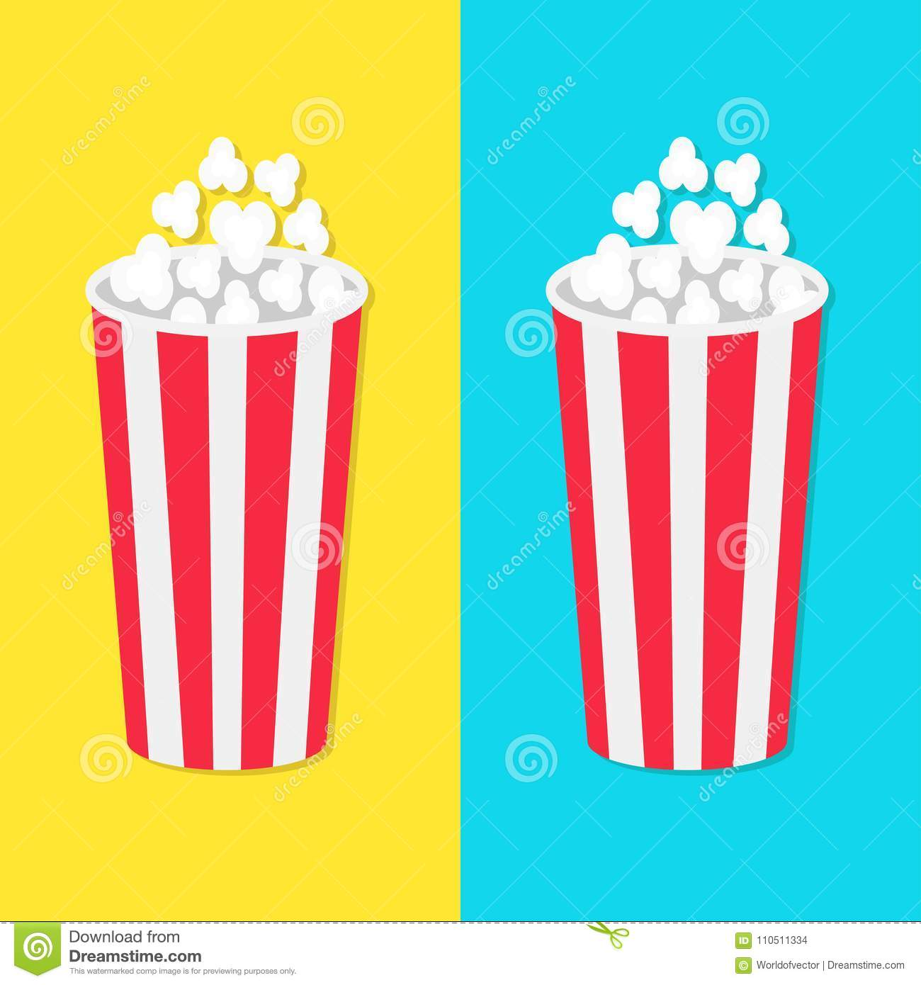 Popcorn round bucket box set movie cinema icon in flat design style popcorn round bucket box set movie cinema icon in flat design style pop corn popping fast food blue yellow background template vector illustration maxwellsz