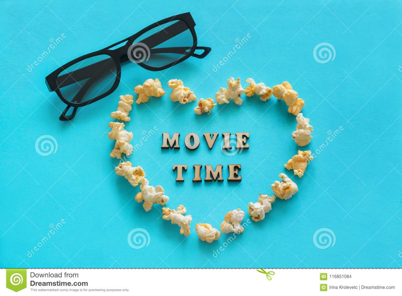 Popcorn in shape heart, 3D glasses, the text