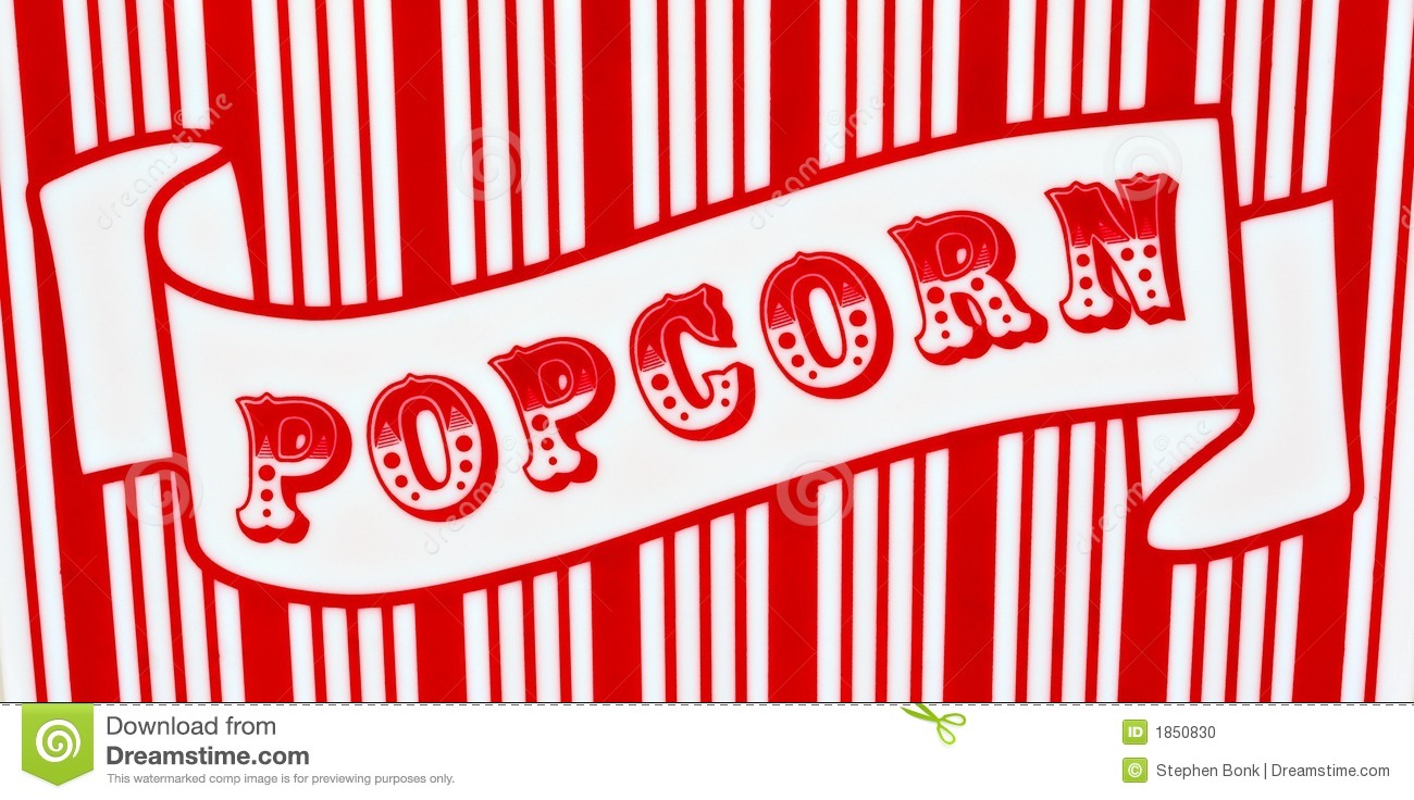 Red and white popcorn sign on red and white striped background.
