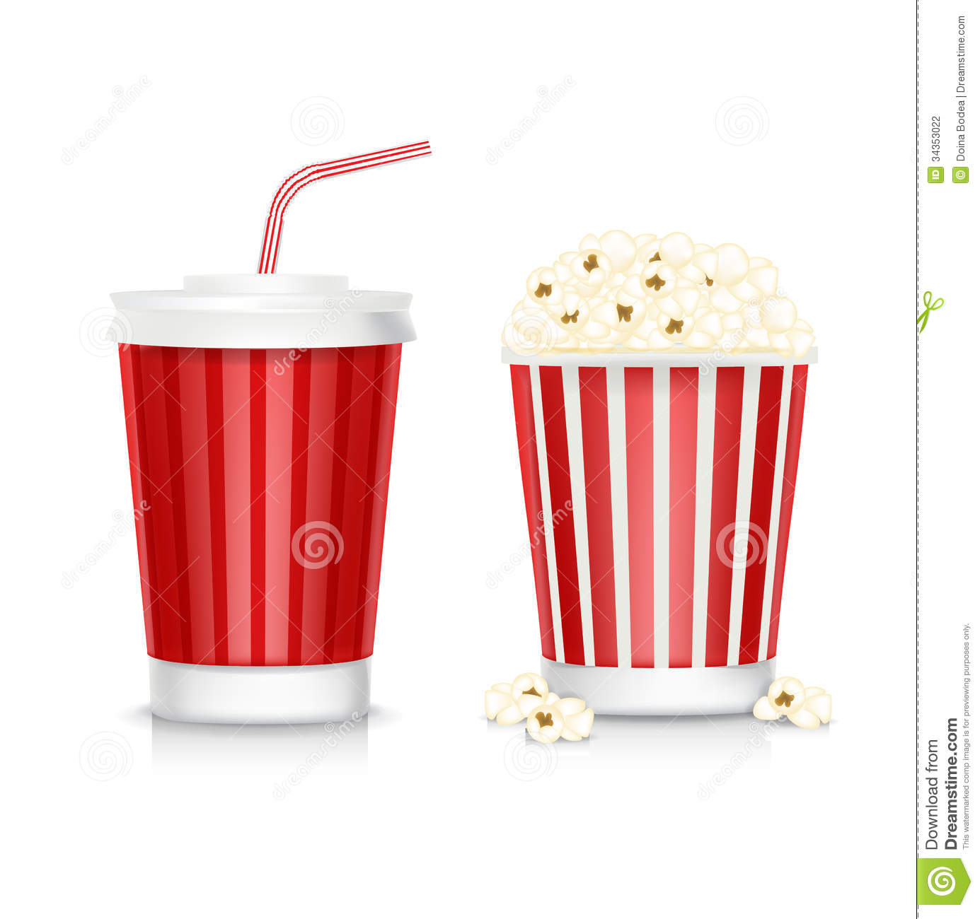 Popcorn And Soda Isolated On White Stock Vector Image