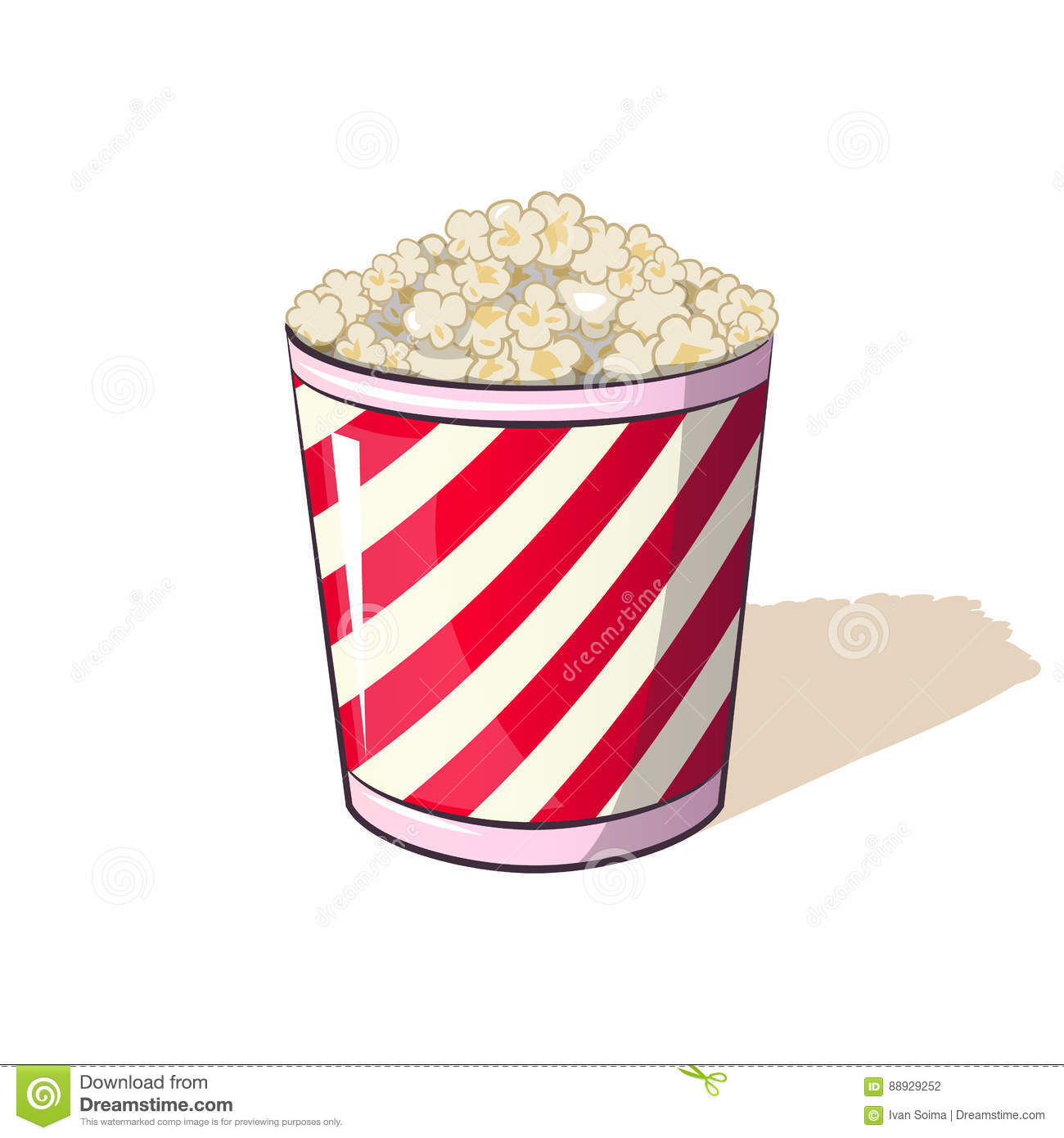 Popcorn in a striped box bucket snack when watching movies