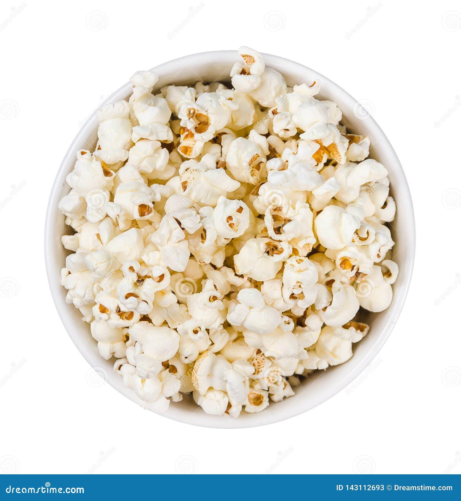 Popcornstapel in einer Ronde lokalisiert auf weißem Hintergrund , Draufsicht
