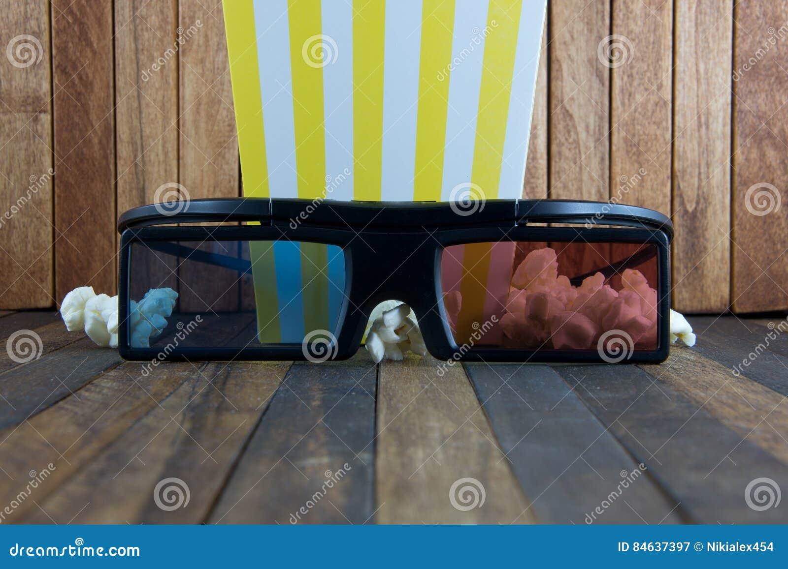 Pophavre och exponeringsglas 3d på wood bakgrund