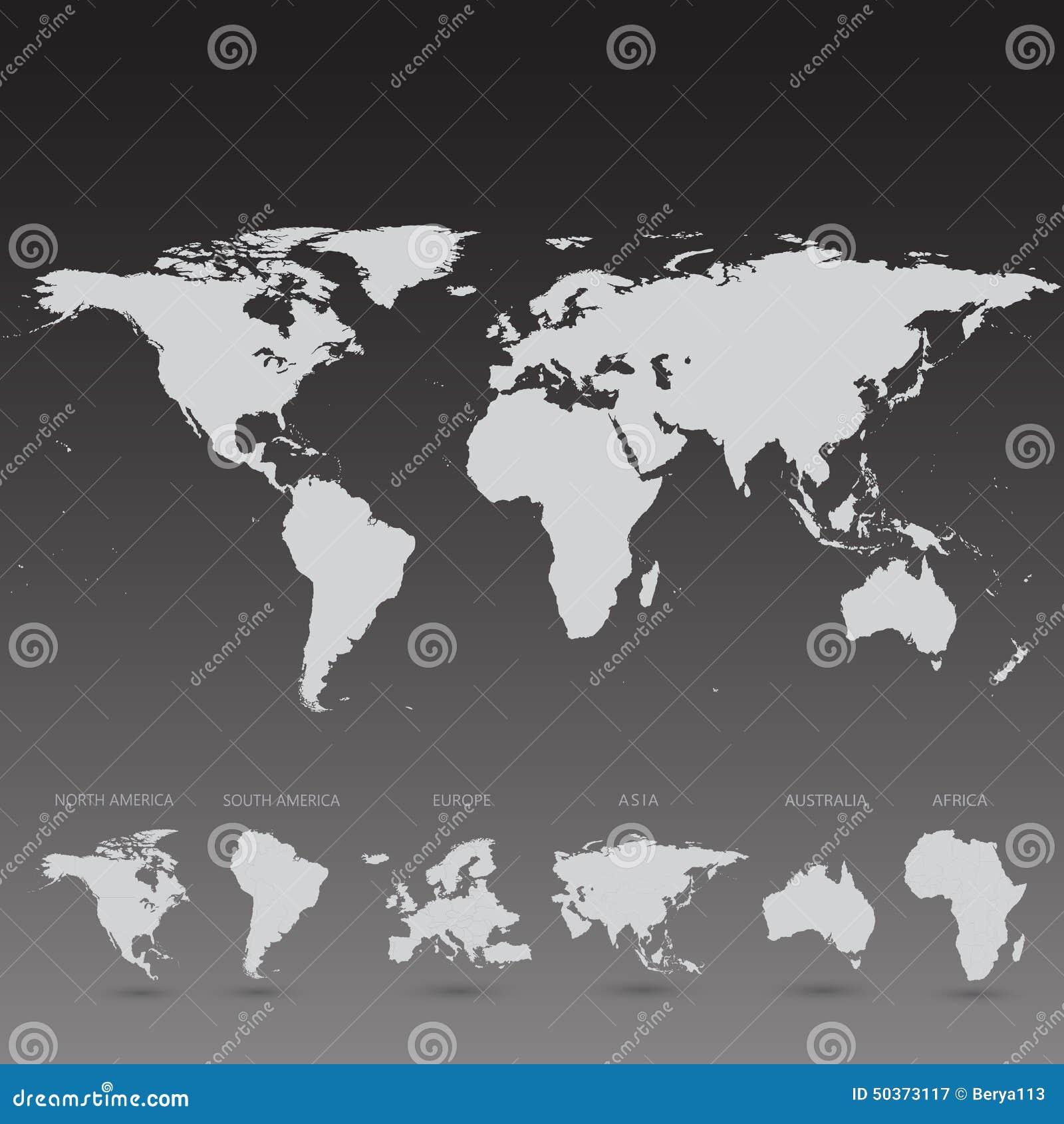 Popielata Światowa mapa na czarnej tło ilustraci