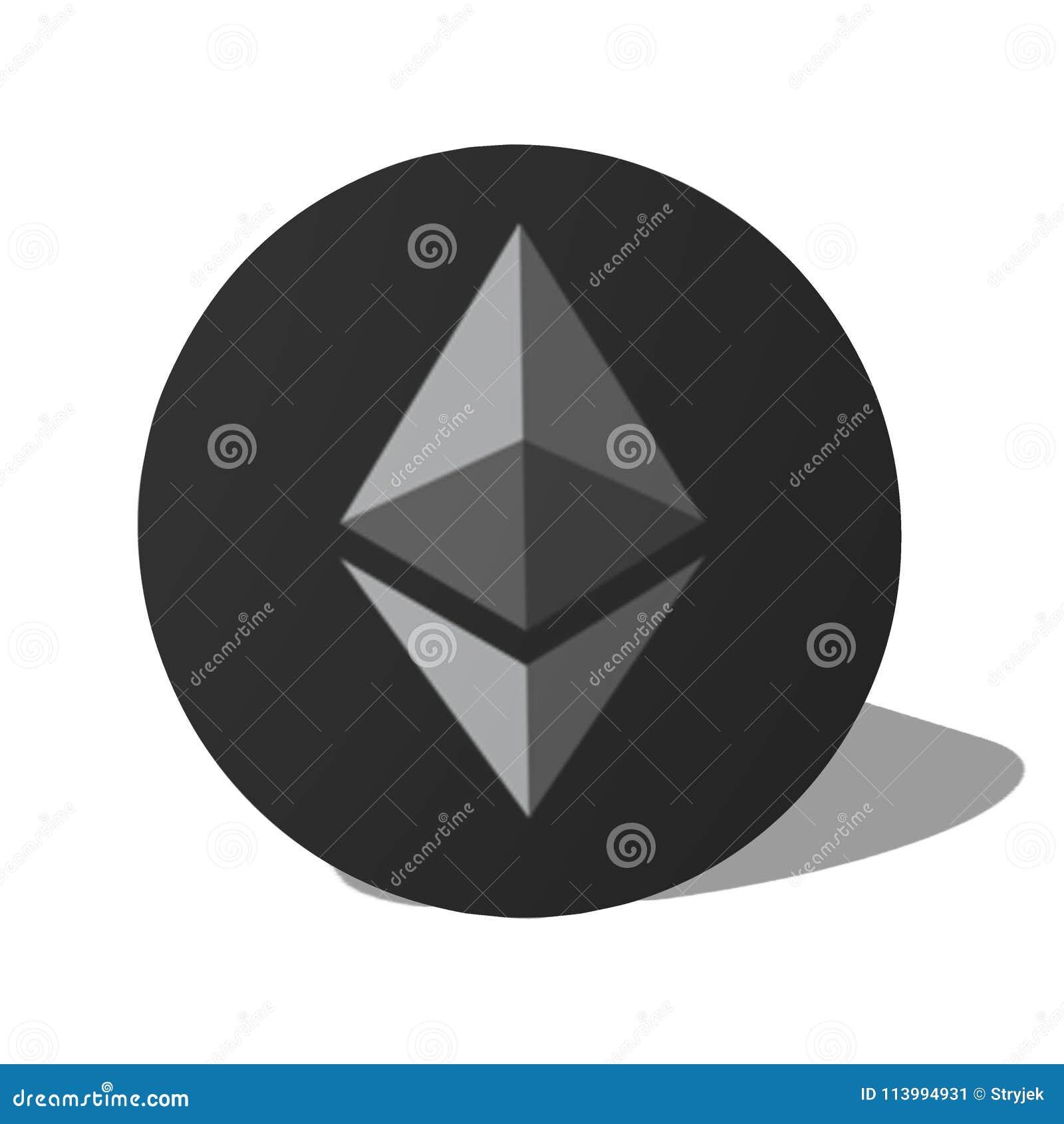 Popielatego etherum loga wektorowy projekt